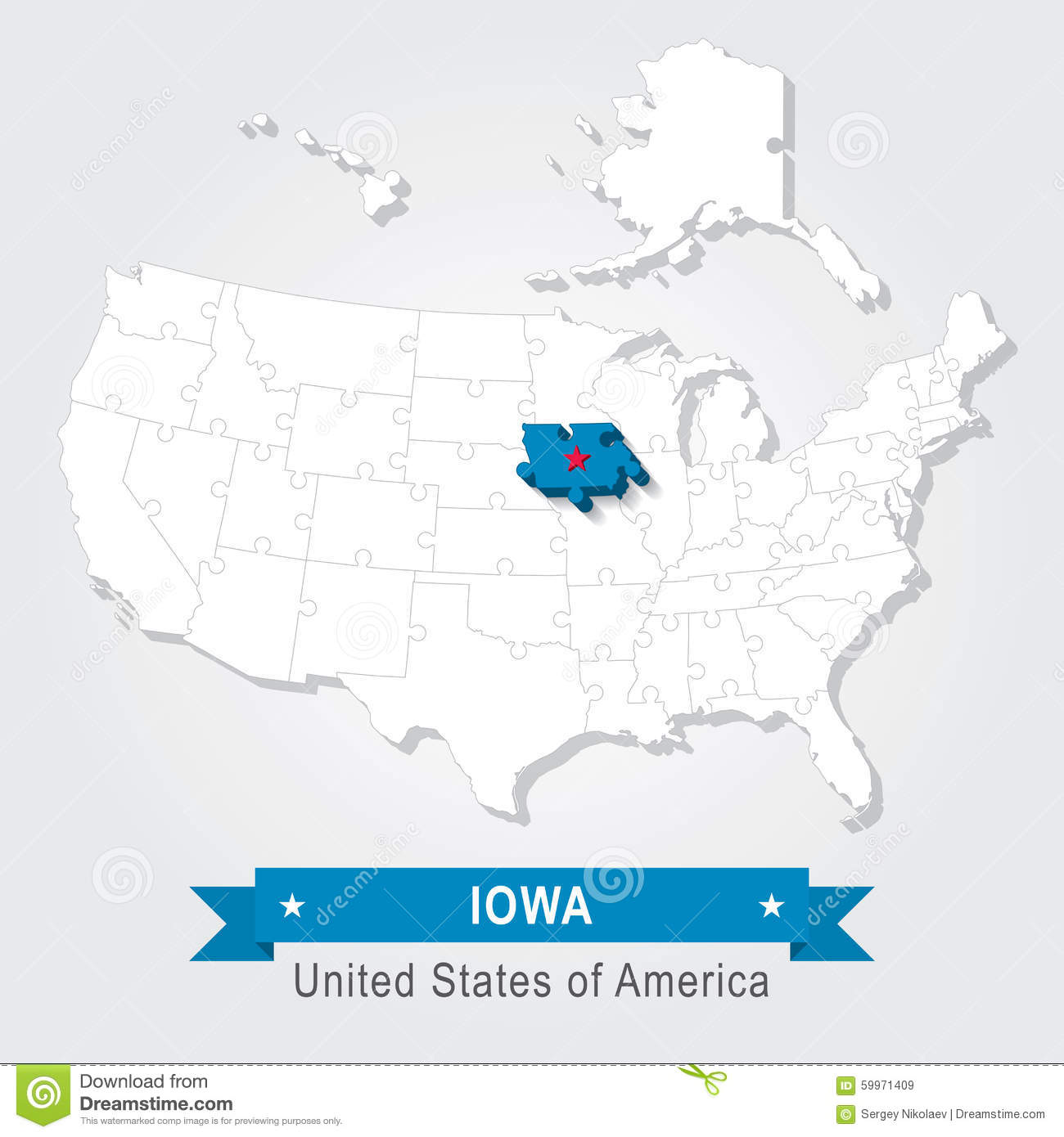Iowa State Usa Administrative Map Stock Vector Illustration Of