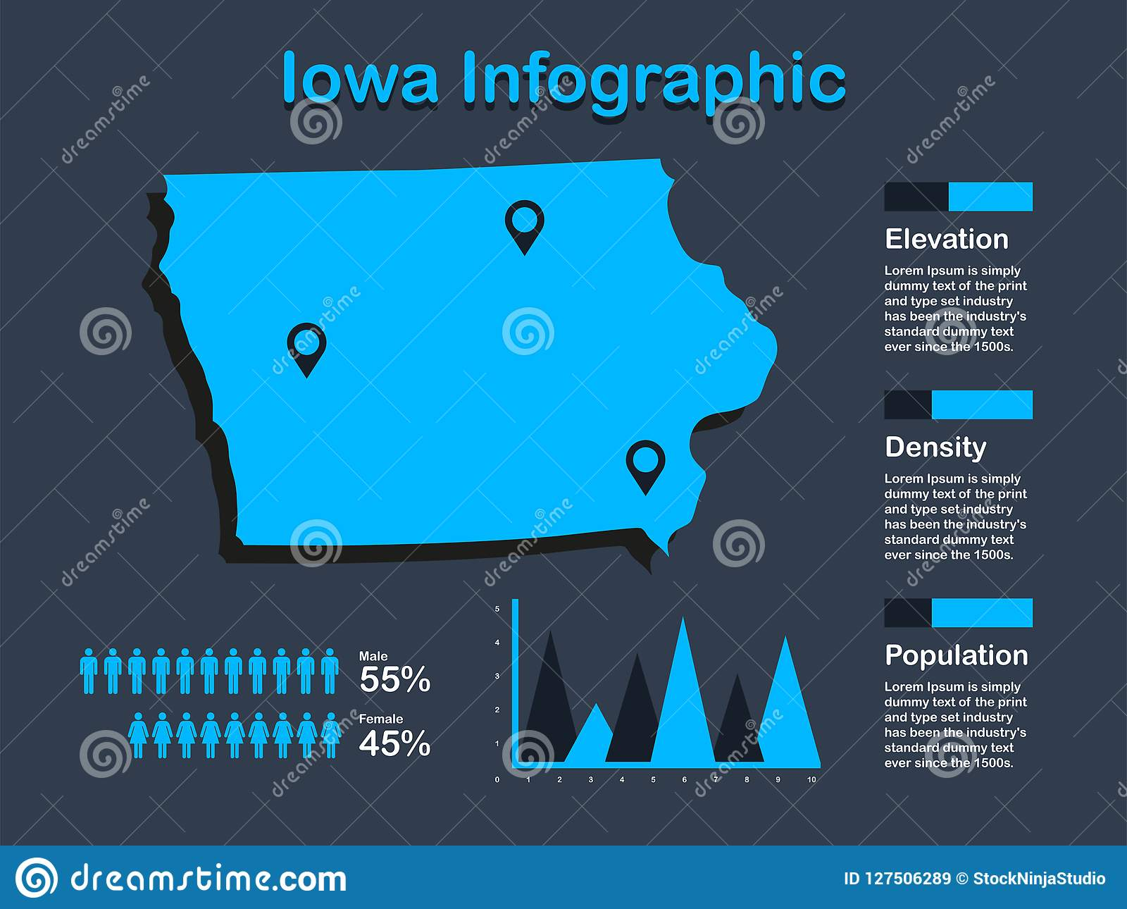 Iowa State USA Map With Set Of Infographic Elements In Blue Color In ...