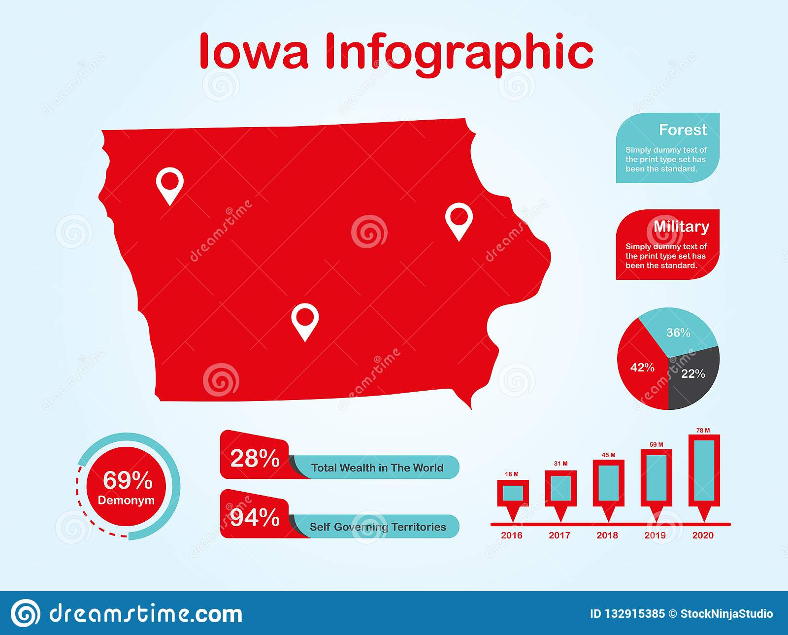 Iowa State USA Map With Set Of Infographic Elements In Red Color In ...