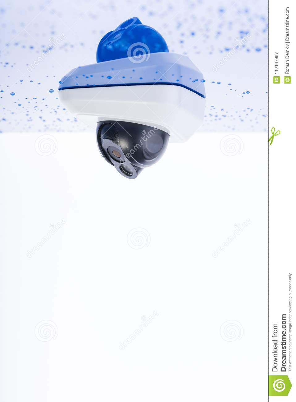 IP dome camera under the roof. Concept - technology and security, copyspace for text or design elements