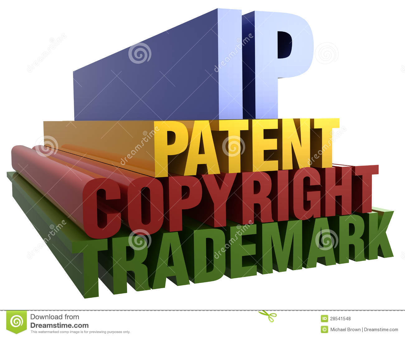 Intellectual Property Infringement: IP Patent Copyright Trademark Words Stock Illustration