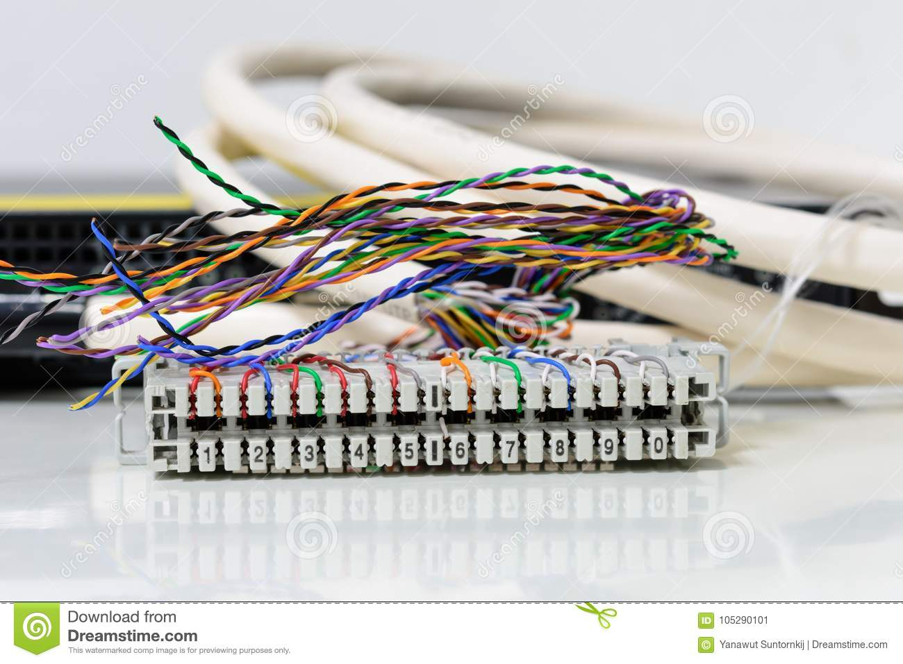 ip telephony system, telephone cabling patch panel with twisted pairs cables  for digital and analog