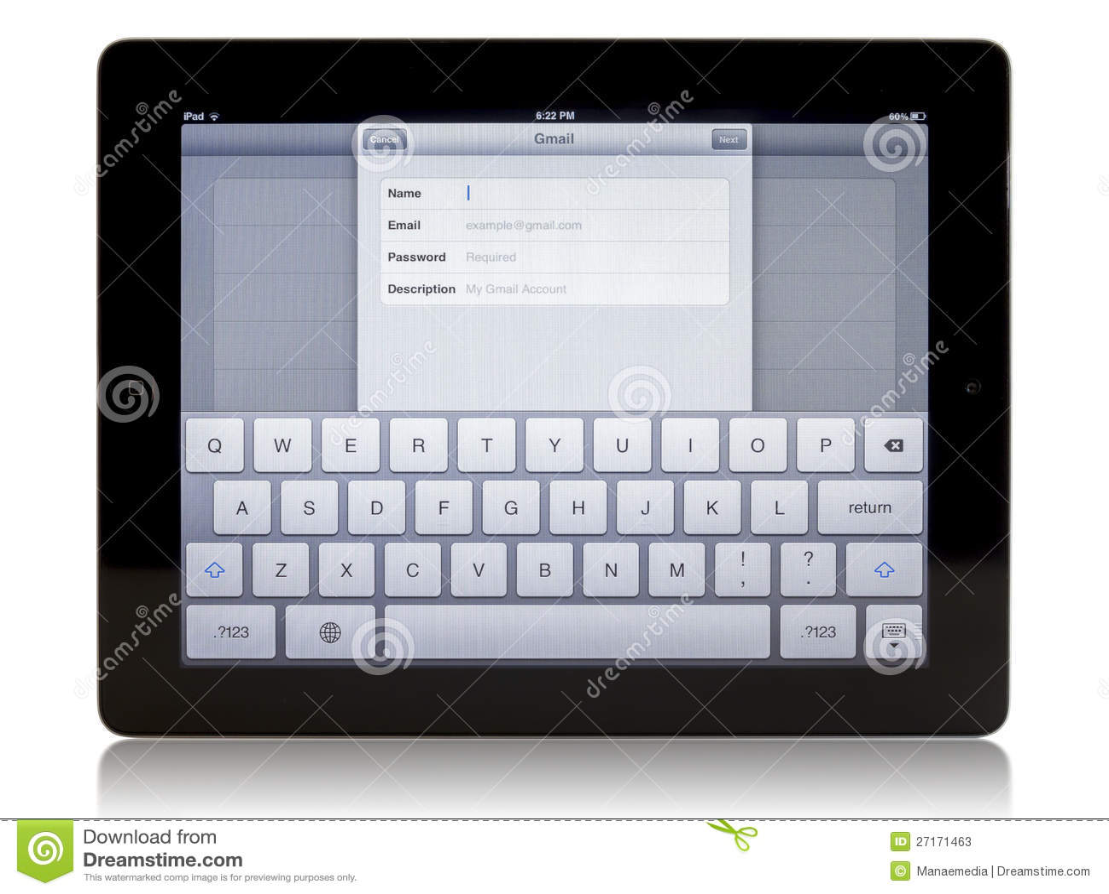 Ipad 3 avec la connexion de Gmail