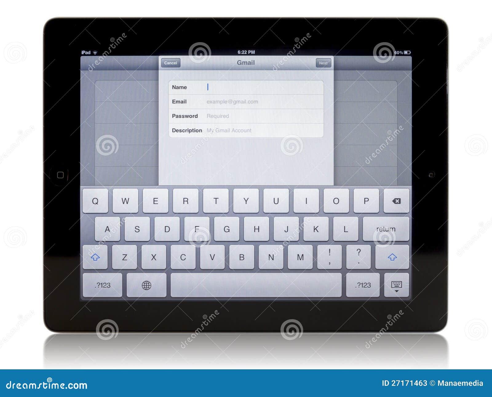 Ipad 3 med Gmail anslutning
