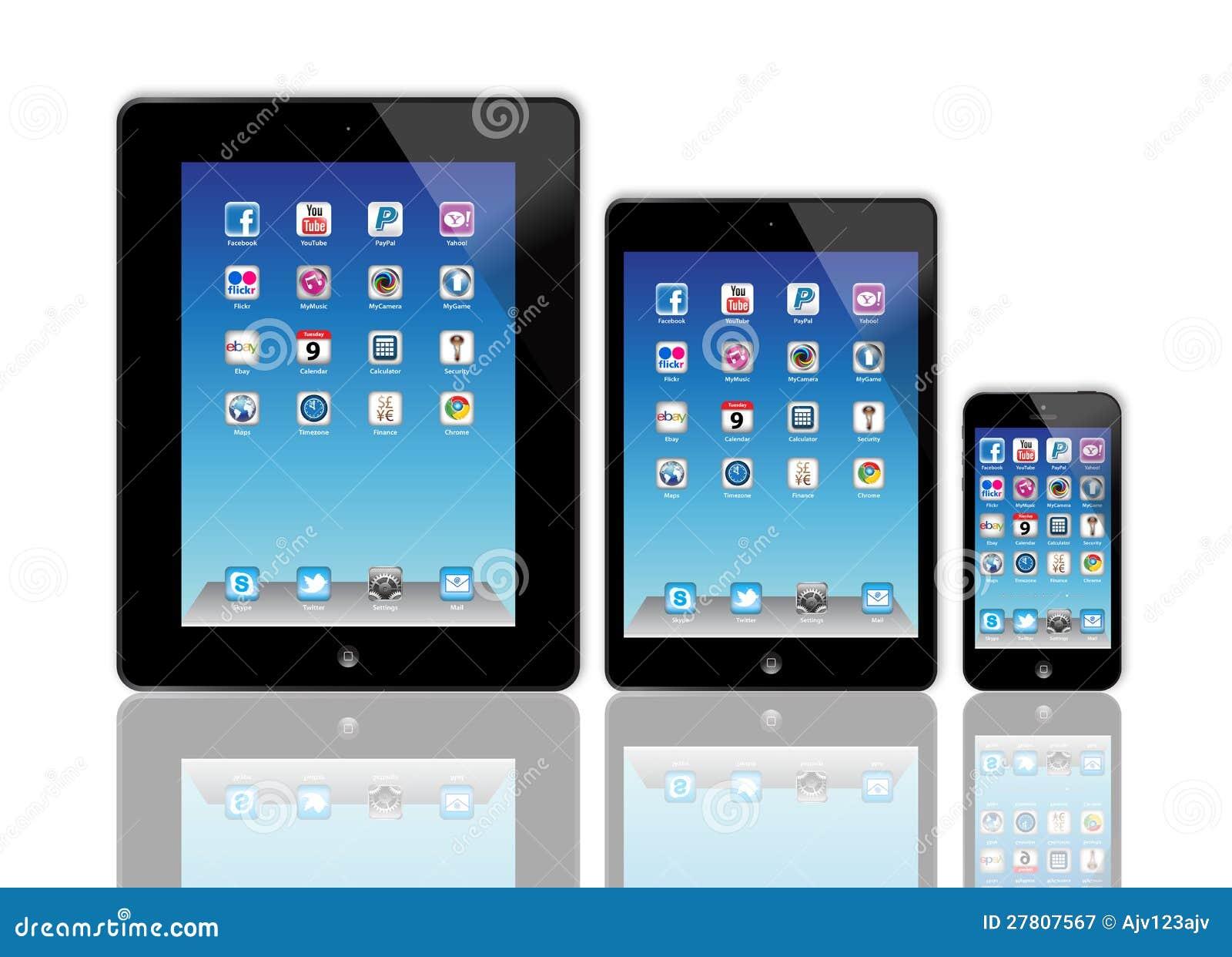 IPad de Apple e iPhone novos 5