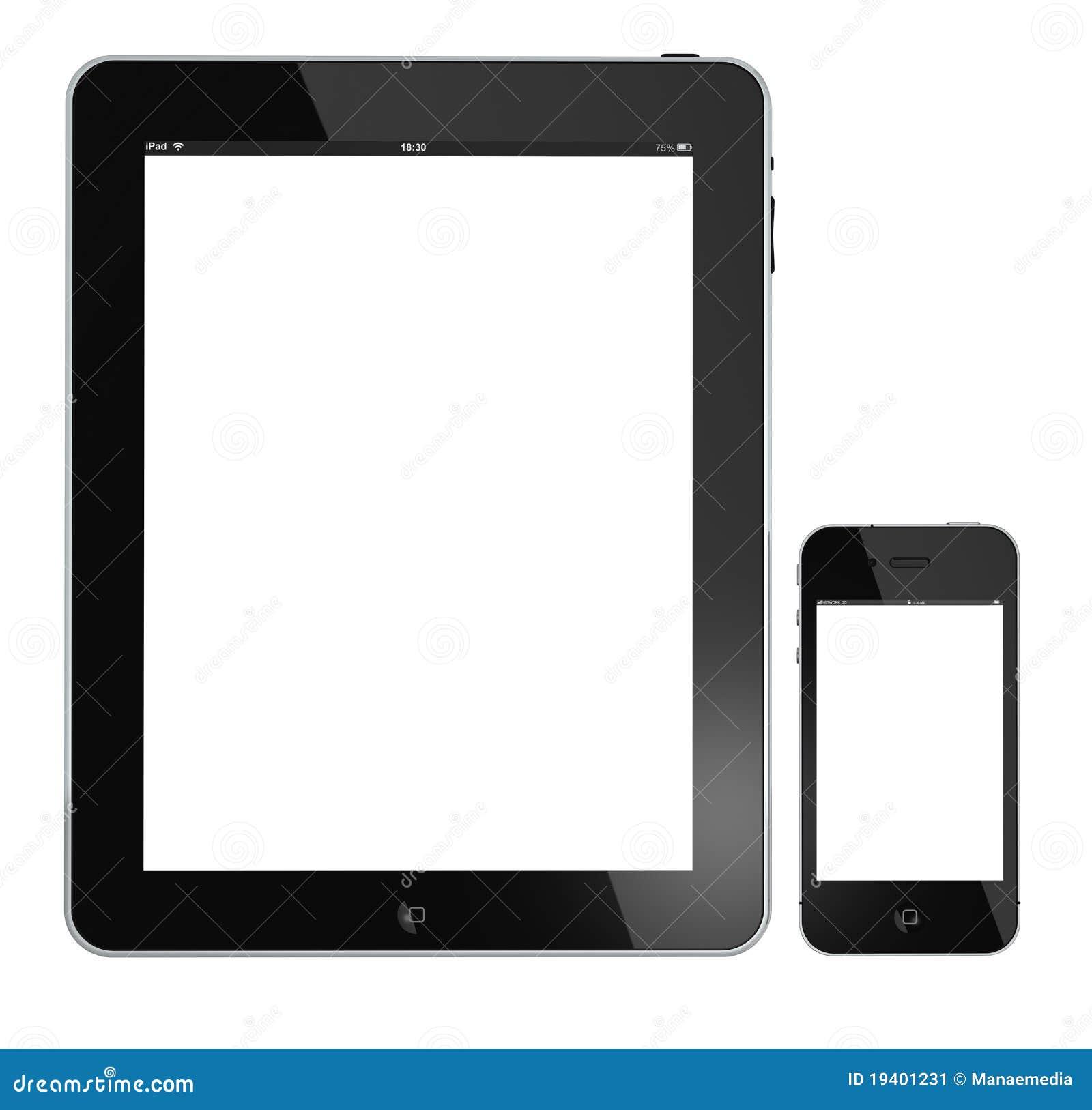 IPad e iphone 4G de Apple aislados en blanco