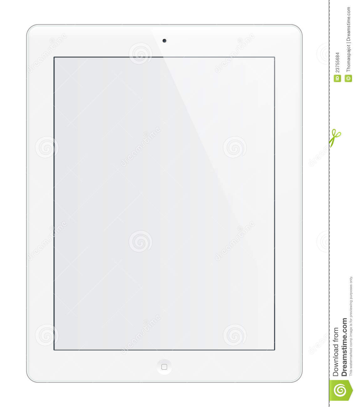 Isolated iPad HD white tablet editable with blank screen.