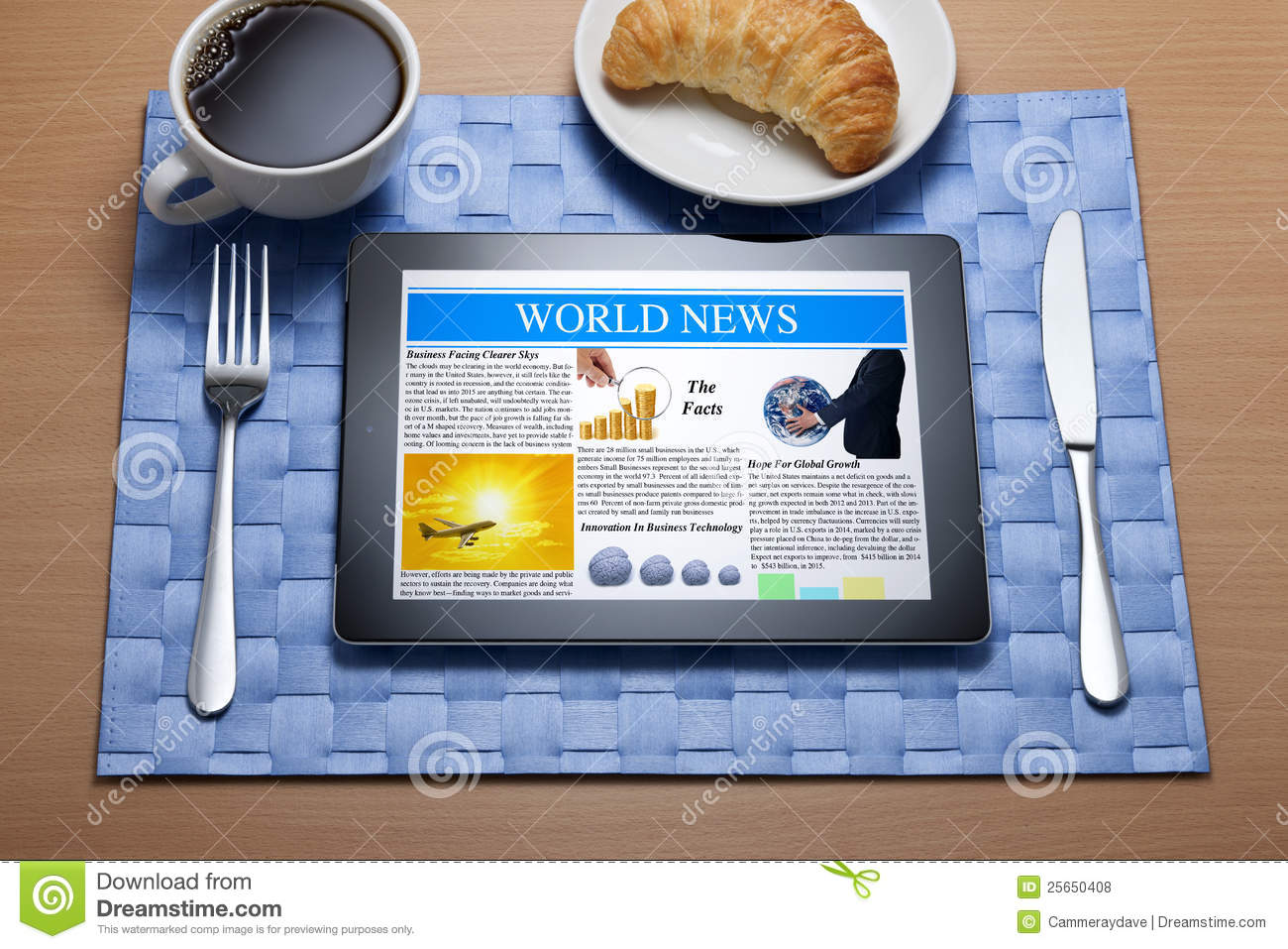 Ipad Tablet Online Breakfast Newspaper Royalty Free Stock