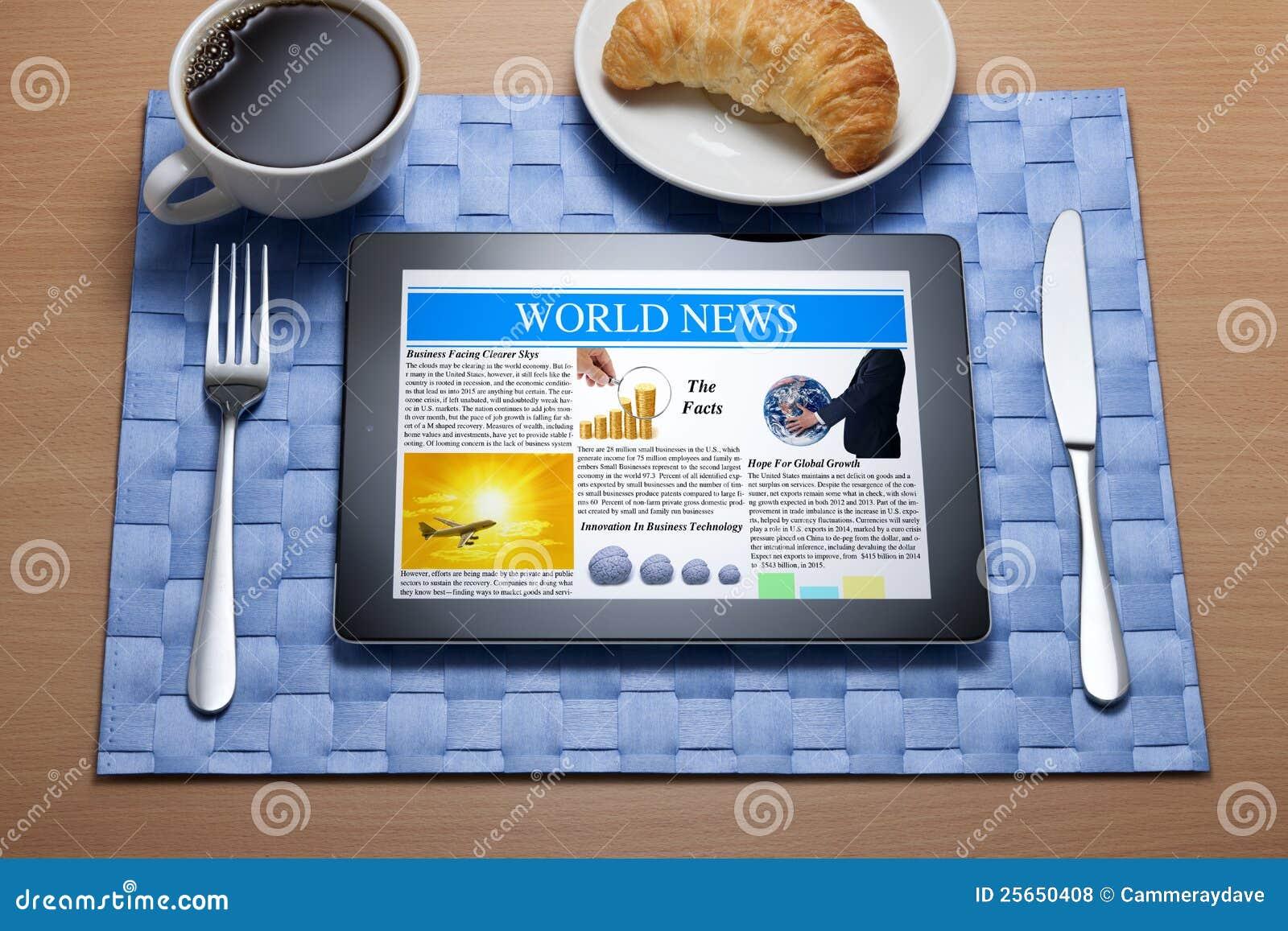 Ipad Tablet Online Breakfast Newspaper Royalty Free Stock Photos Image 25650408