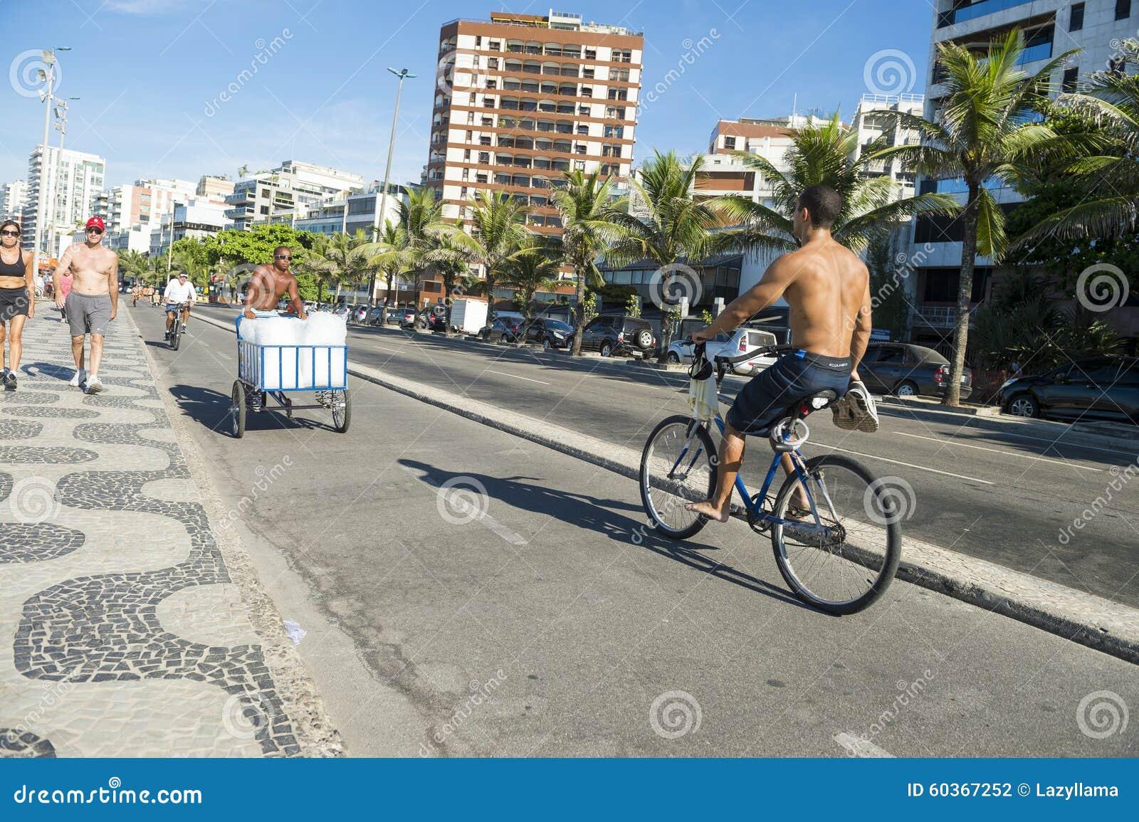 Ipanema Beach Bike Path Rio De Janeiro Brazil Editorial ...