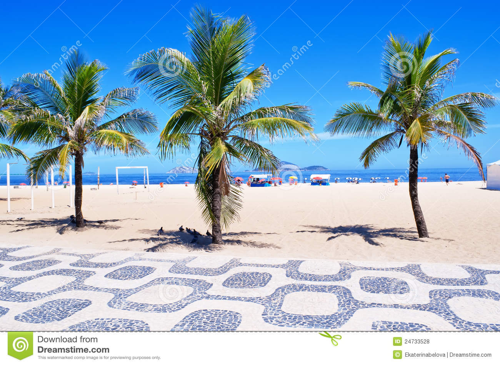 Ipanema beach with palms and mosaic of sid