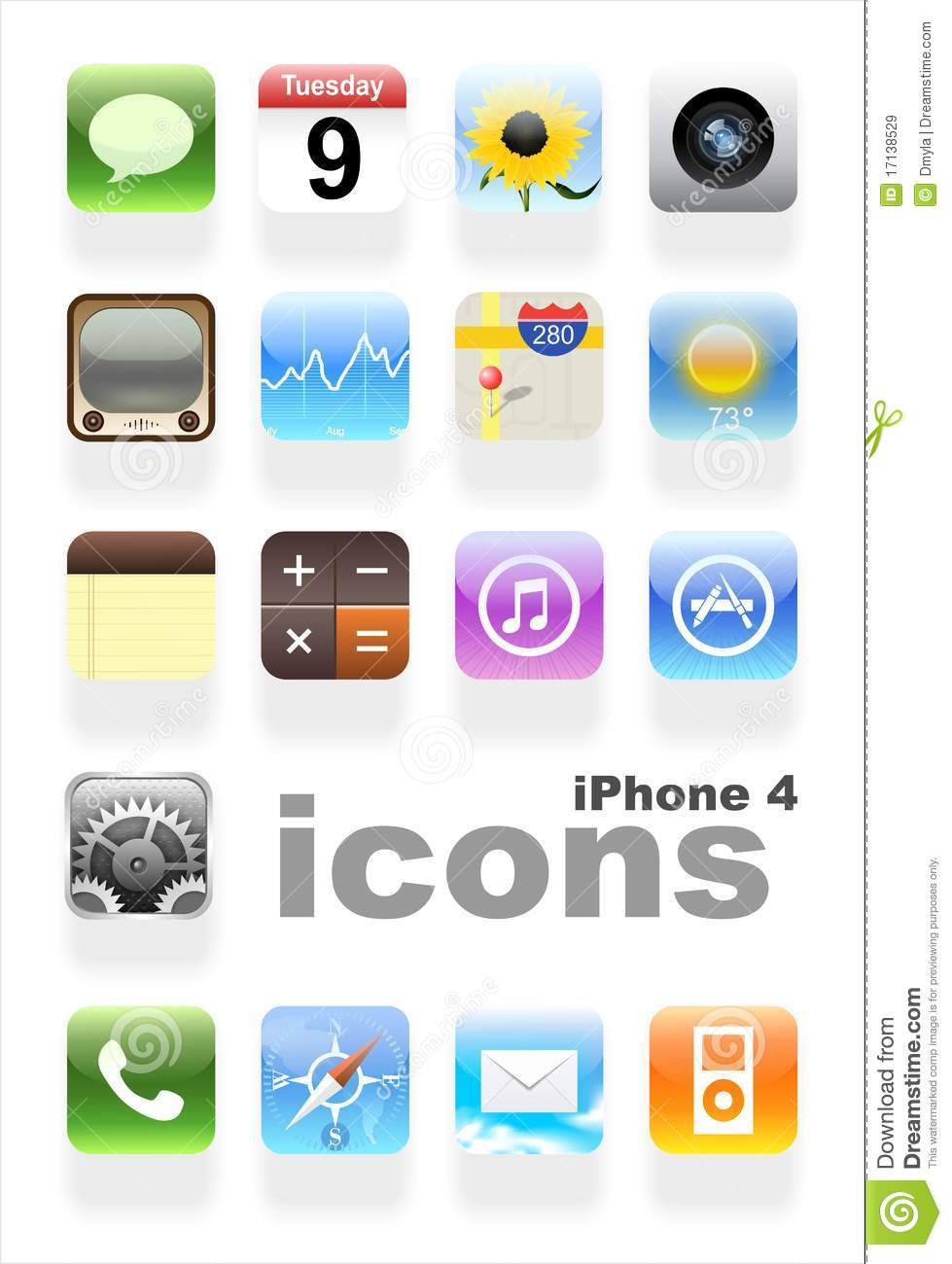 IPhone 4 Icons Editorial Stock Image - Image: 17138529