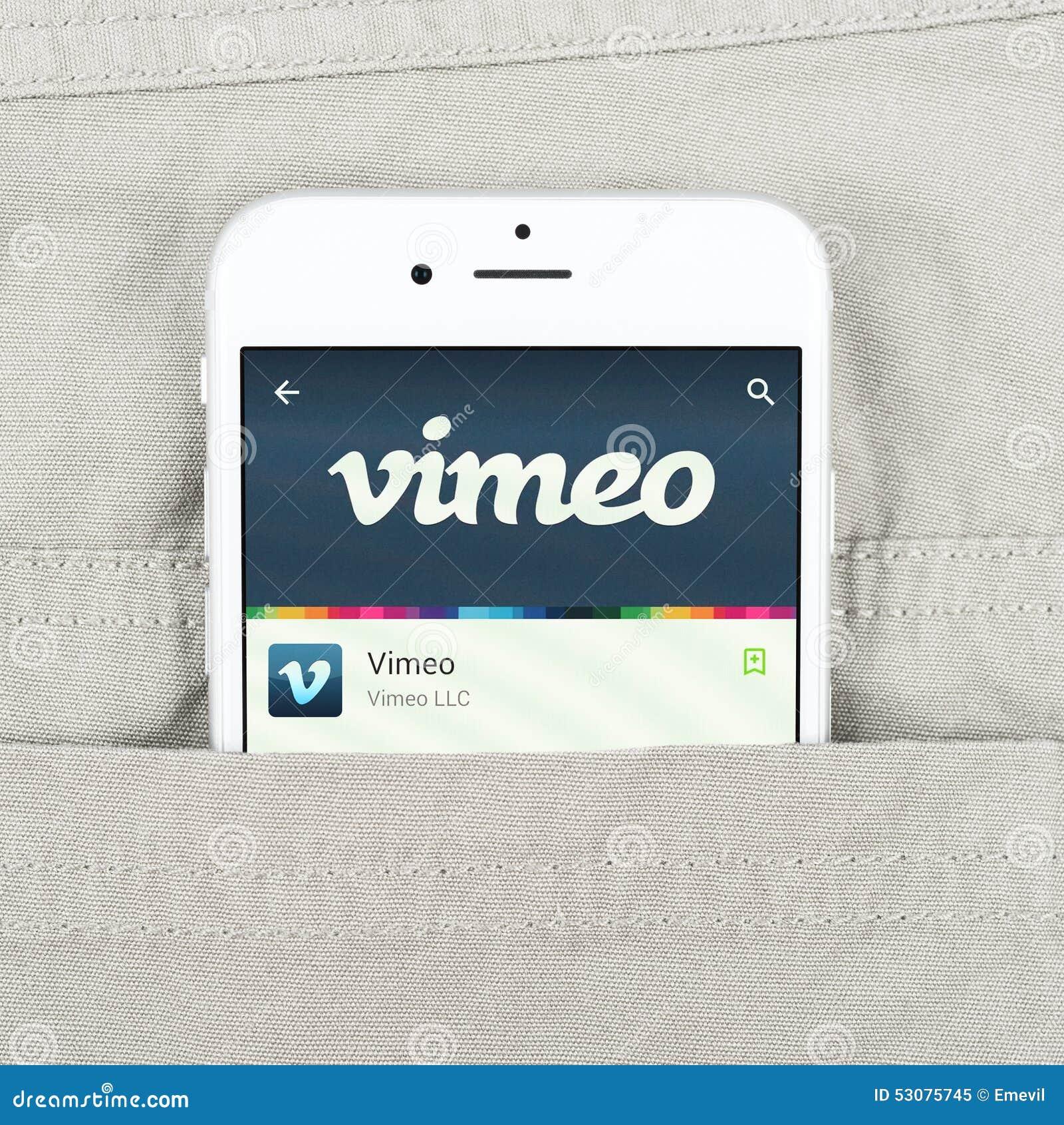 IPhone 6 Displaying Vimeo Application Editorial Image