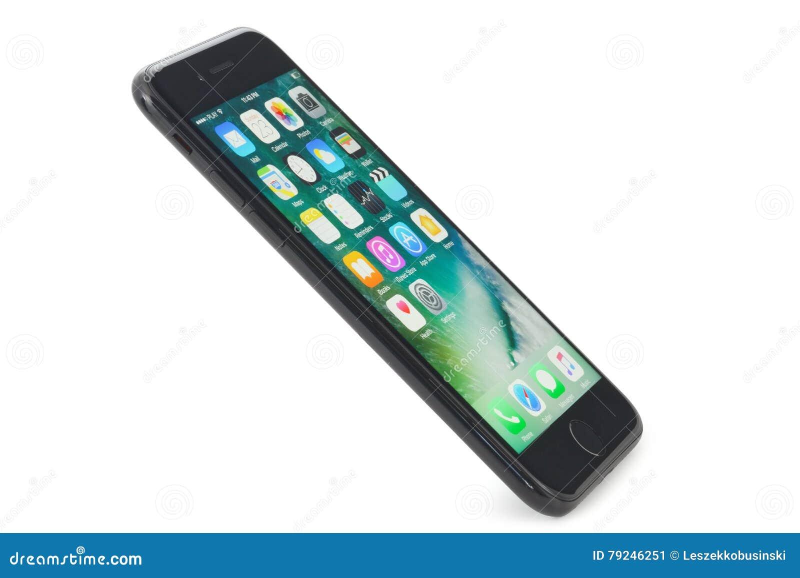 Iphone Noir 7 Sur Le Fond Blanc Photo Editorial Image Du Home