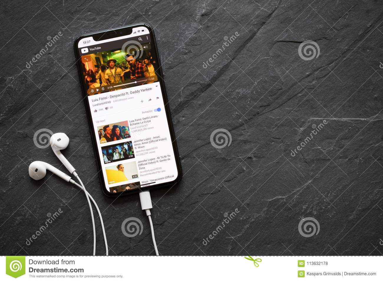 IPhone X Playing Popular Song Despacito On YouTube Video
