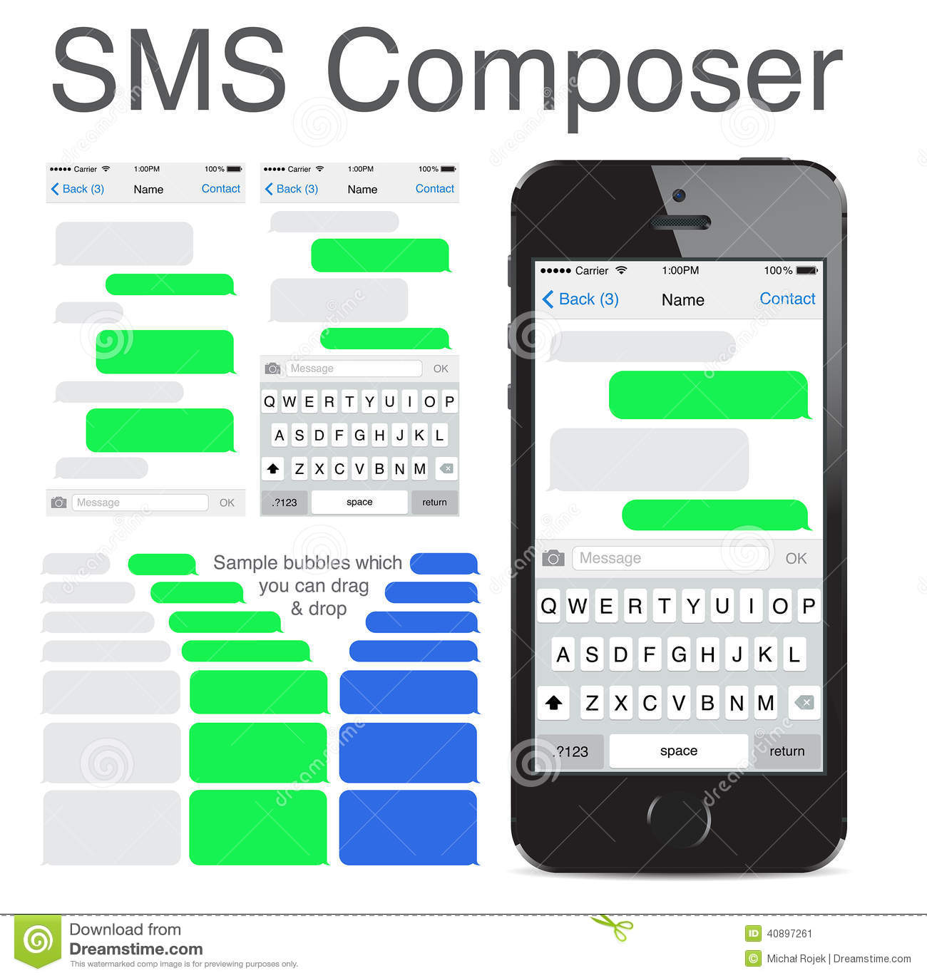 Iphone 5s Chatting Sms Template Bubbles