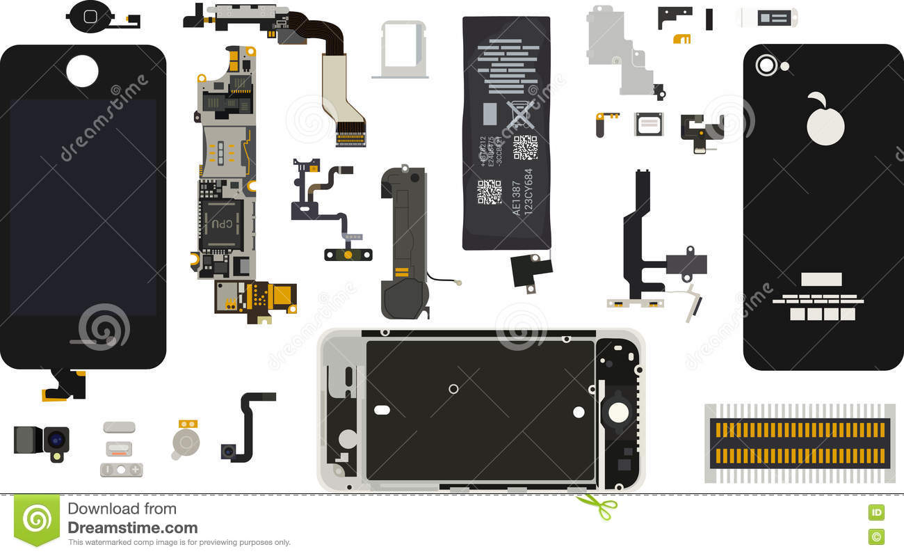 Iphone 4s Components Diagram Schematics Wiring Diagrams Ldv Maxus Central Locking Disassembled Stock Vector Illustration Of Rh Dreamstime Com Motherboard Chart