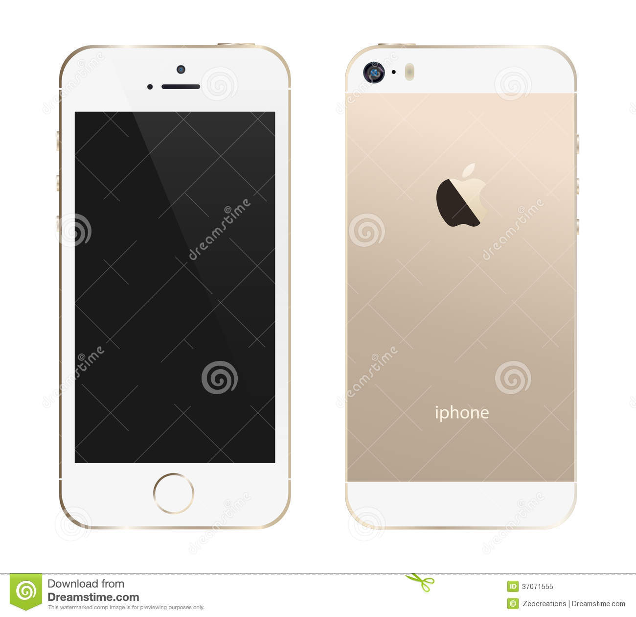 template illustration of the new gold color iphone 5s.An additional ...