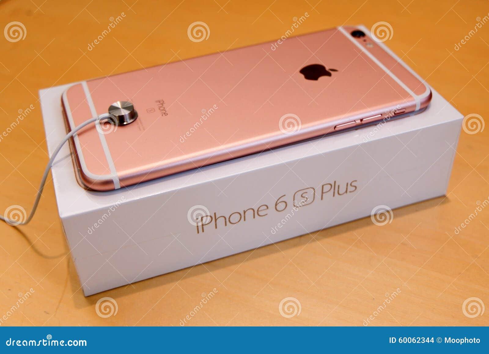 IPhone 6S mais Rose Gold Face Down na caixa varejo