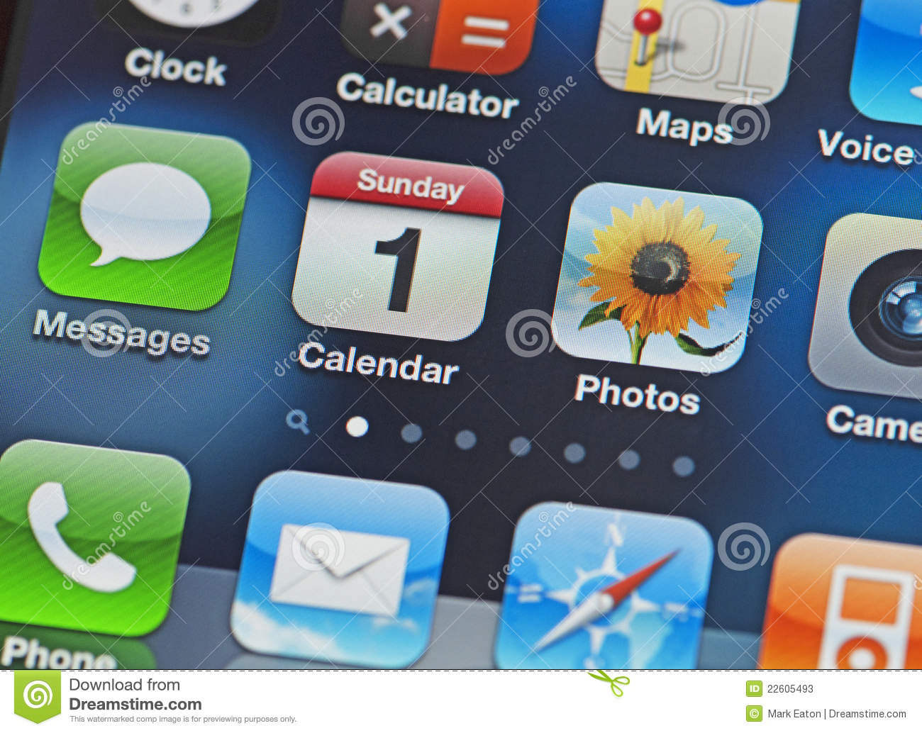 IPhone Screen With Common Apps Editorial Stock Photo ...