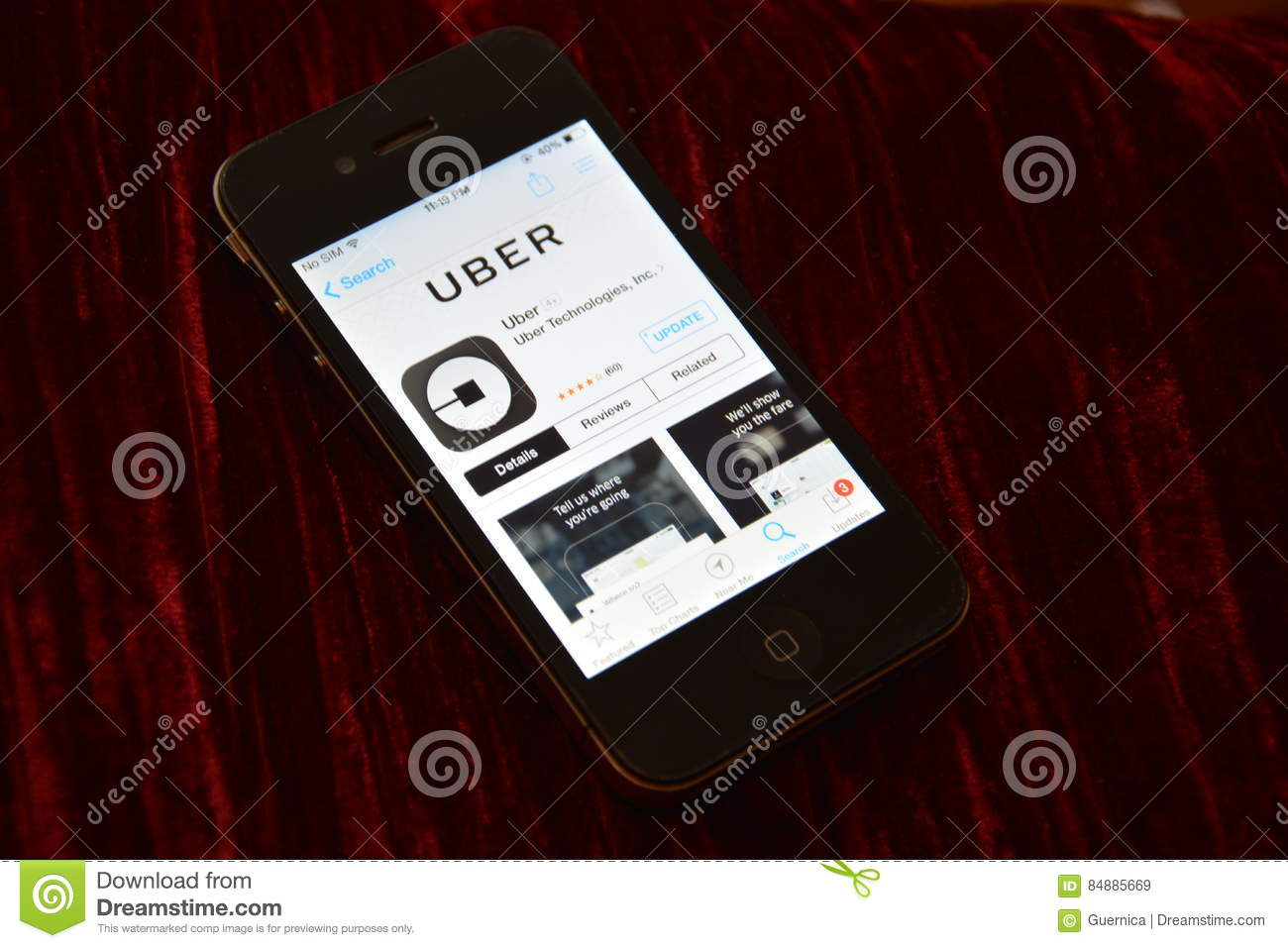 IPhone Uber App On App Store Editorial Stock Image - Image
