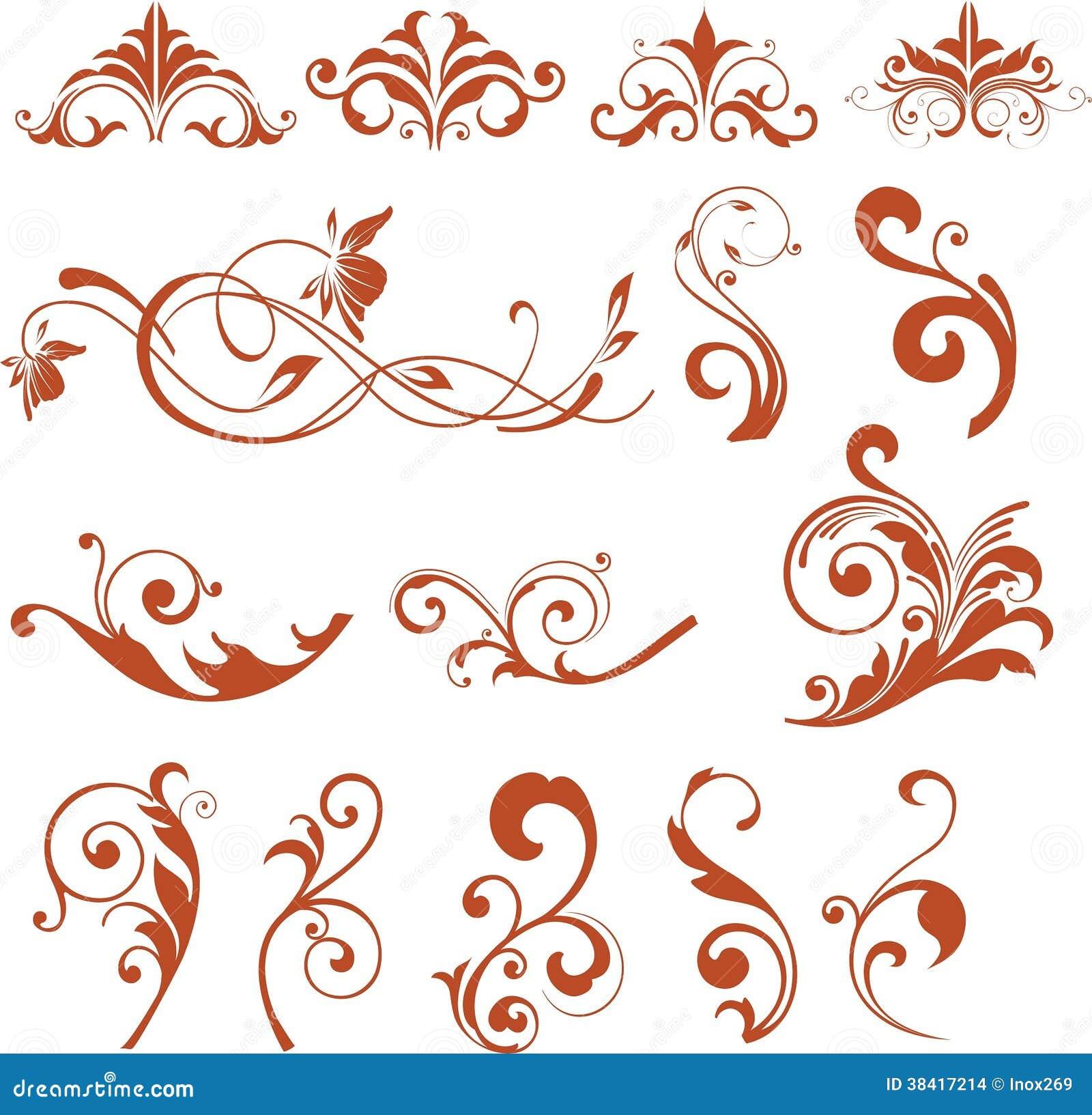 Floral design elements vector flower icons stock images for Decoration elements