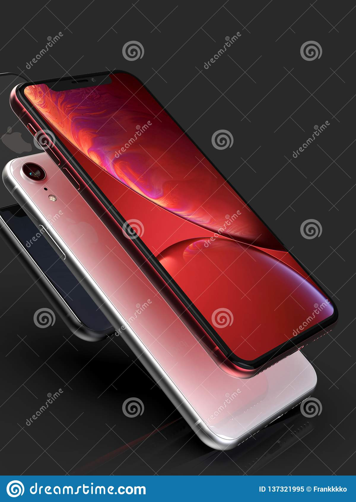 3 Iphone Xr Red Silver And Space Grey Smart Phones On Black