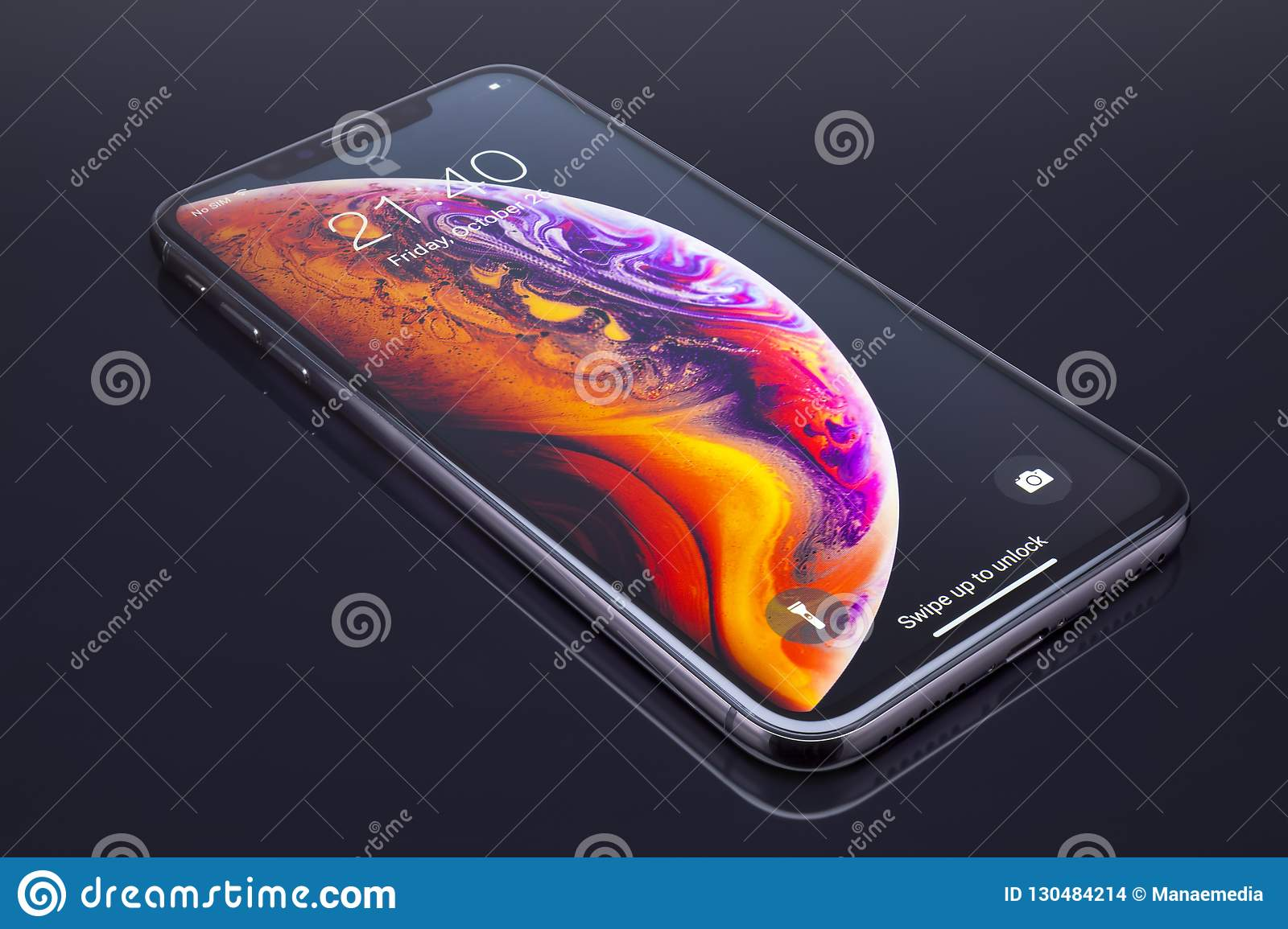 Iphone Xs Max On Black Glass Editorial Stock Image Image