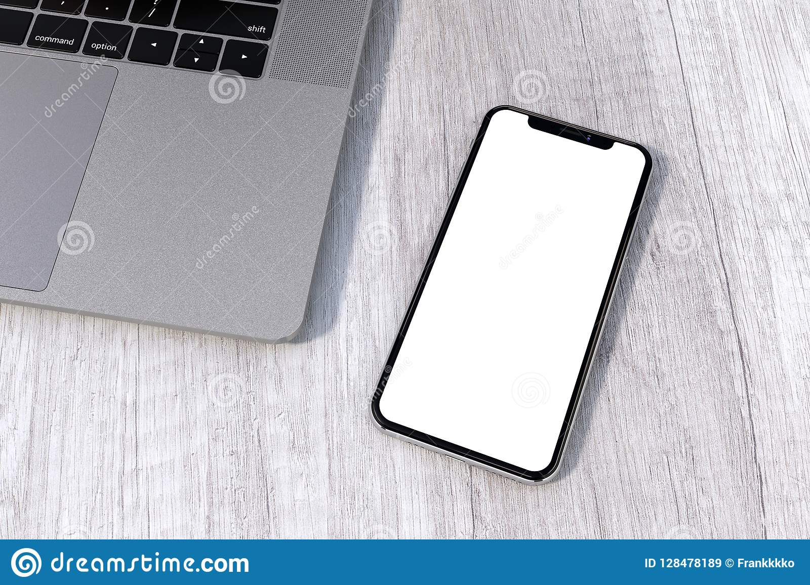 Iphone Xs Silver Style Smartphone Mock Up Perspective On Table Stock