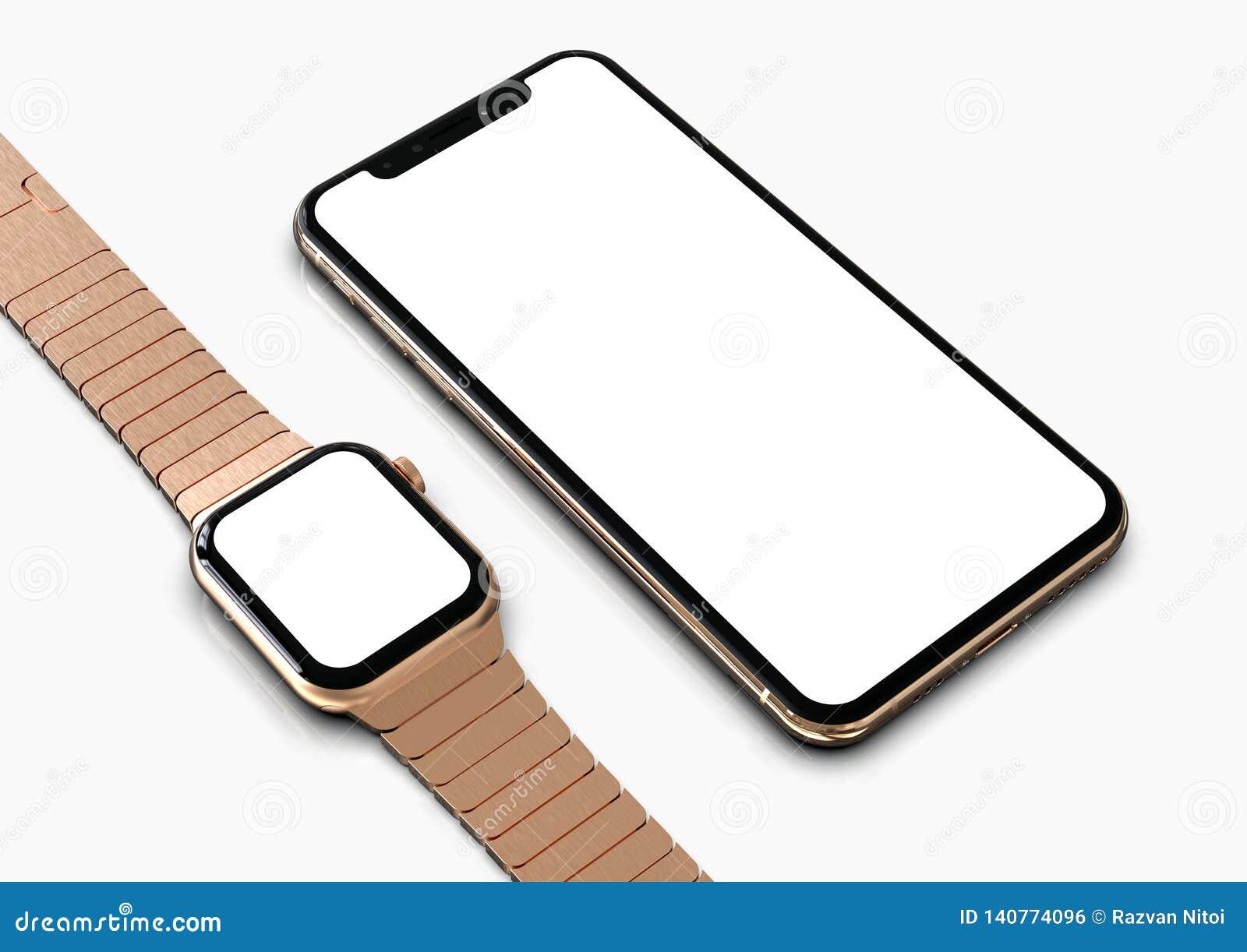 IPhone XS y el reloj de Apple subieron oro con la pantalla blanca para las maquetas