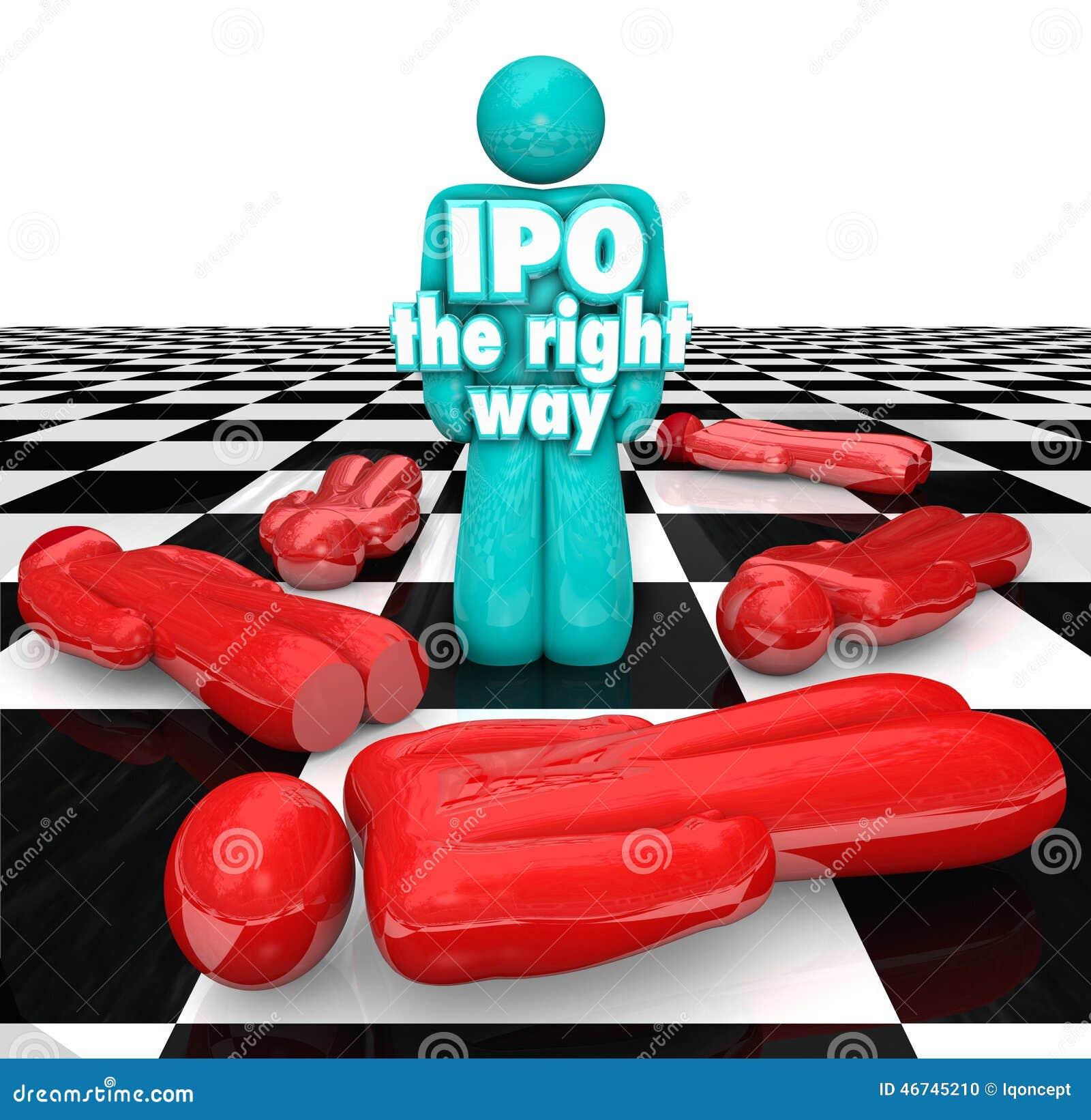 IPO Prawy sposobu przedsiębiorca Stoi Pomyślnego Początkowego Publi