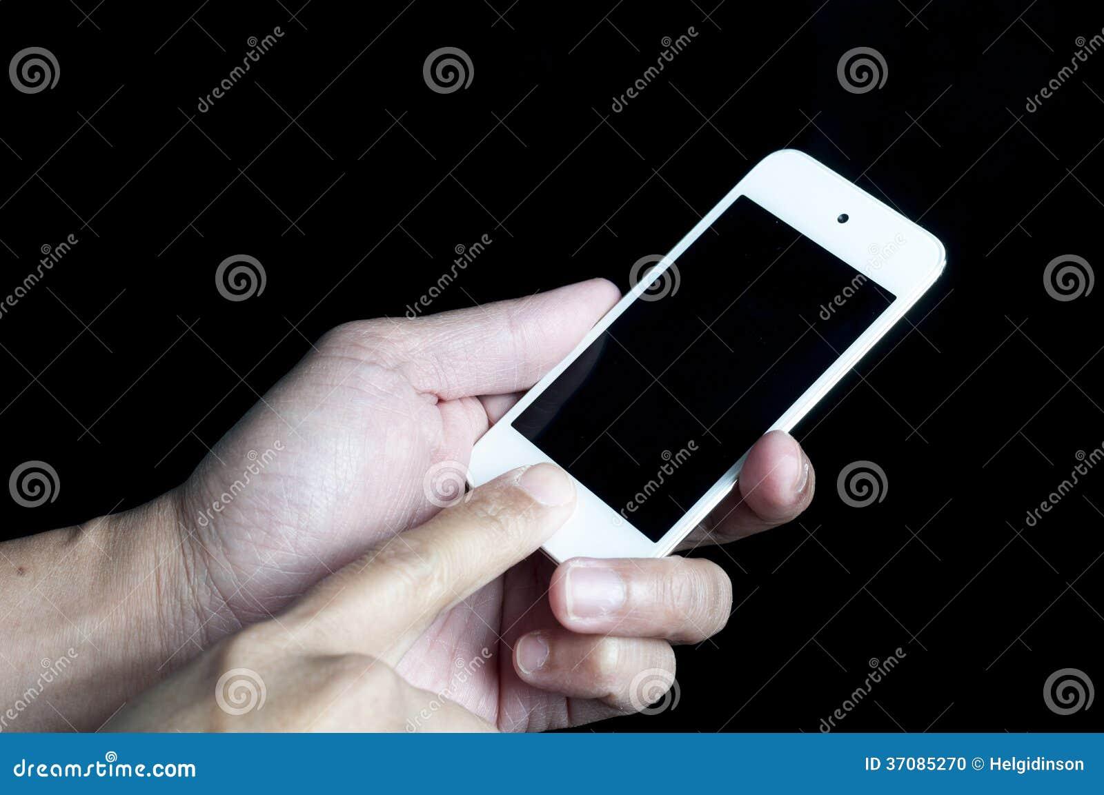 Download Ipod Na Ręce Z Palcowy Wskazywać Zdjęcie Stock - Obraz złożonej z odosobniony, telefon: 37085270