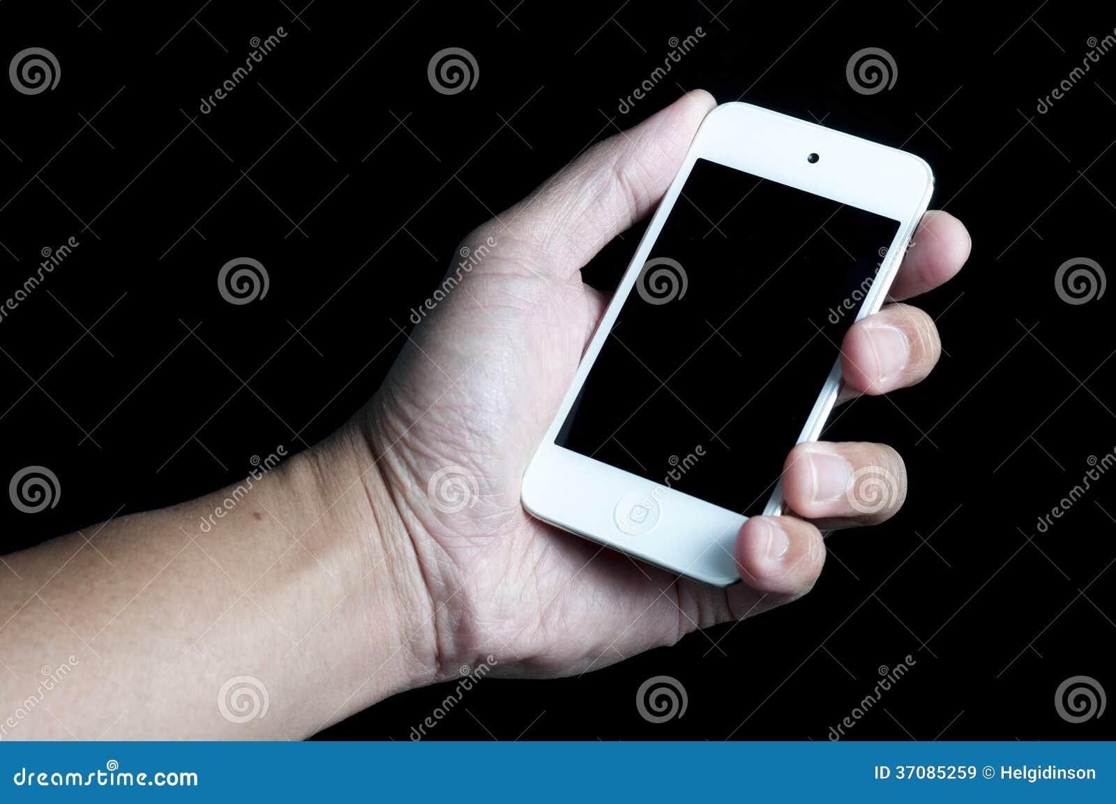 Download Ipod na ręce obraz stock. Obraz złożonej z komórka, odosobniony - 37085259