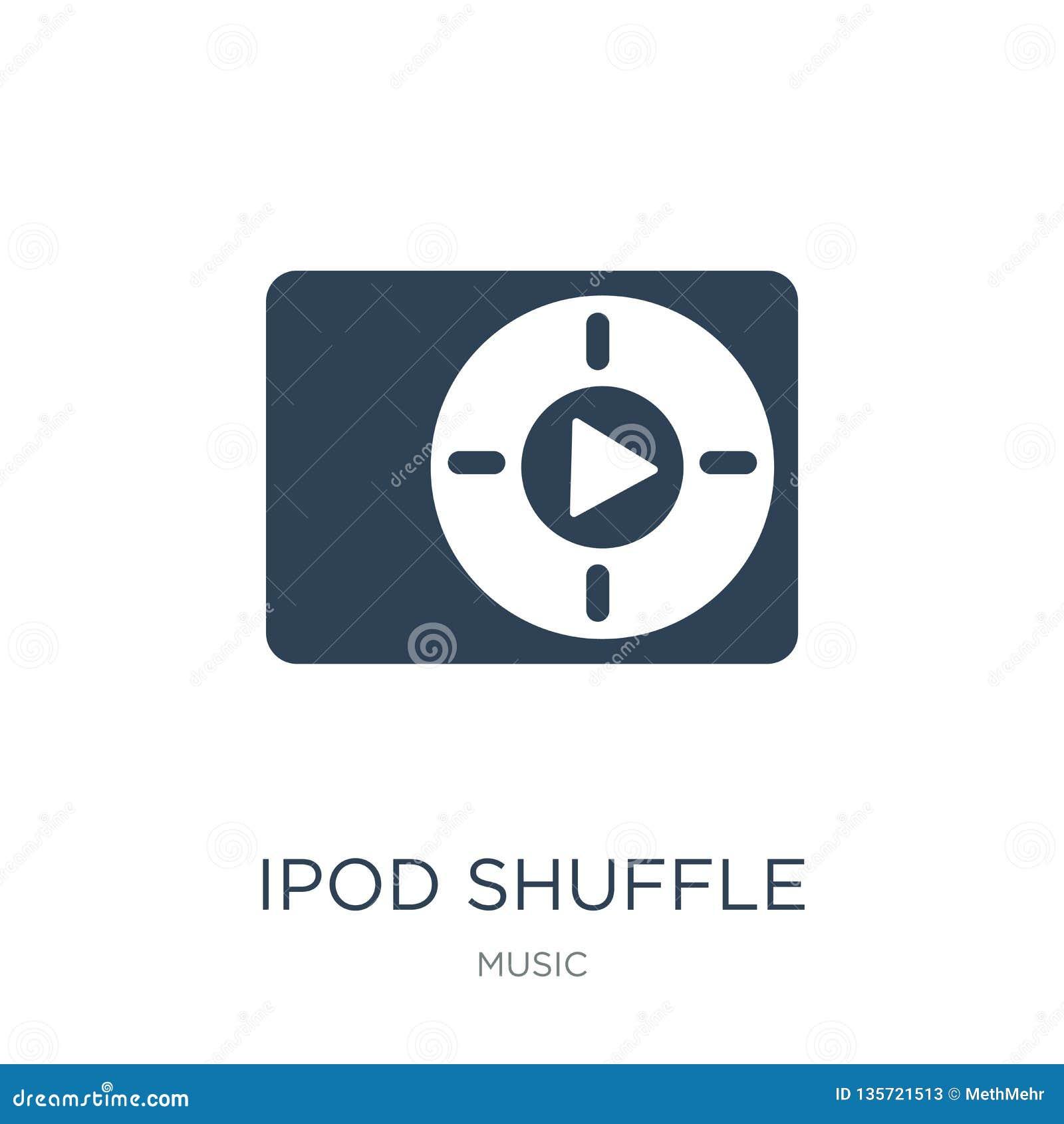 IPod- Shuffleikone in der modischen Entwurfsart iPod- Shuffleikone lokalisiert auf weißem Hintergrund iPod- Shufflevektorikone ei