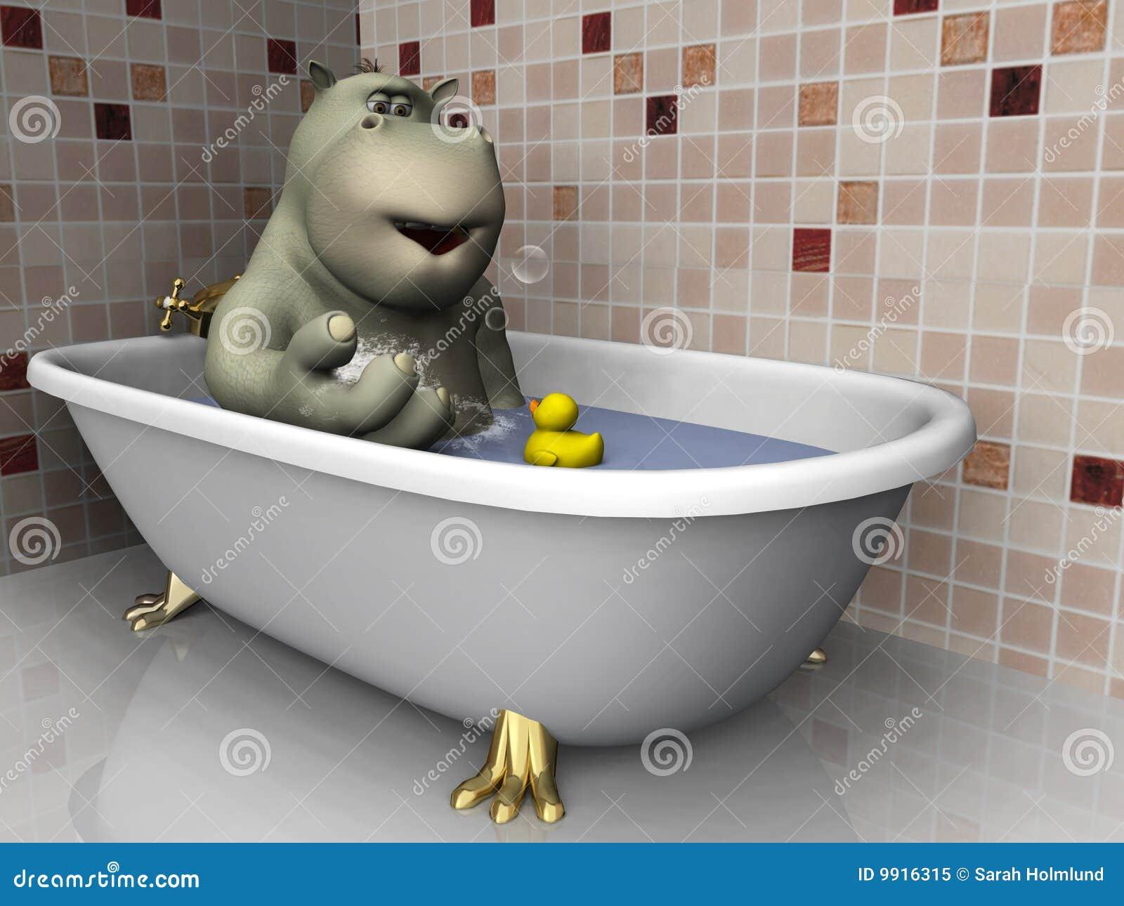 Jeans Vasca Da Bagno : Ippopotamo del fumetto in vasca da bagno. illustrazione di stock