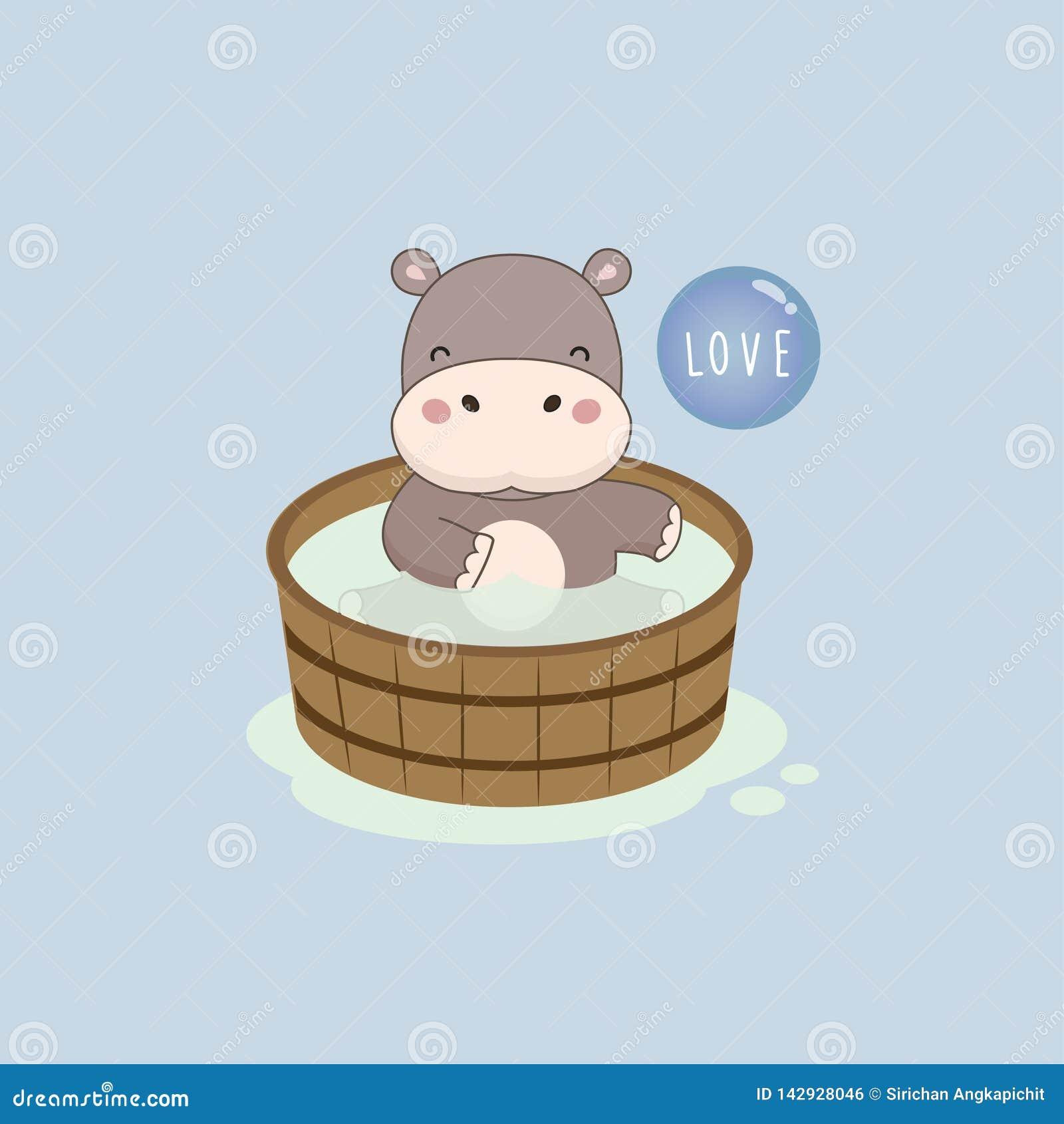 Ippopotamo felice nella vasca da bagno di legno