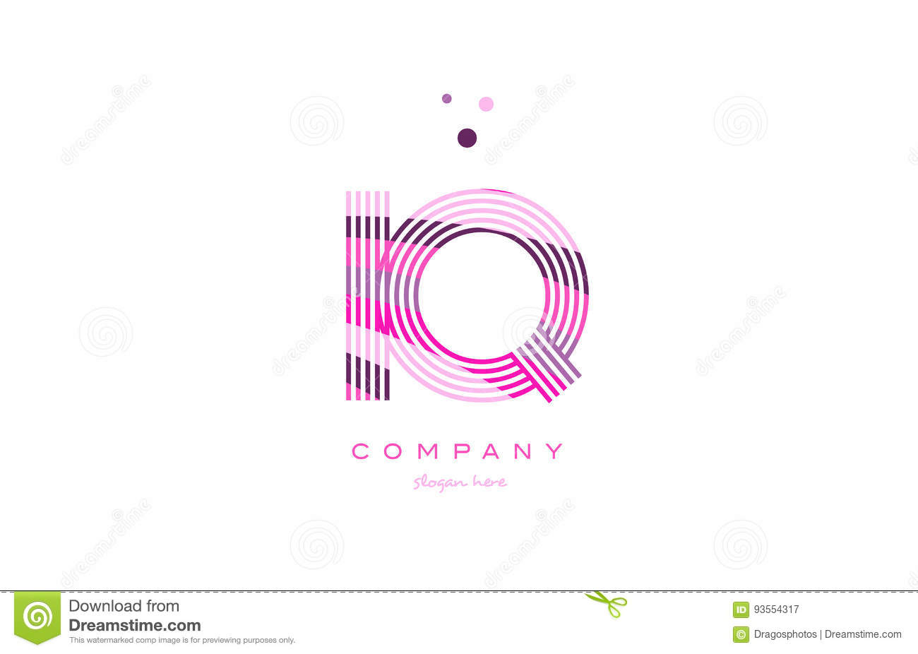 Iq I Q Alphabet Letter Logo Pink Purple Line Icon Template Vecto