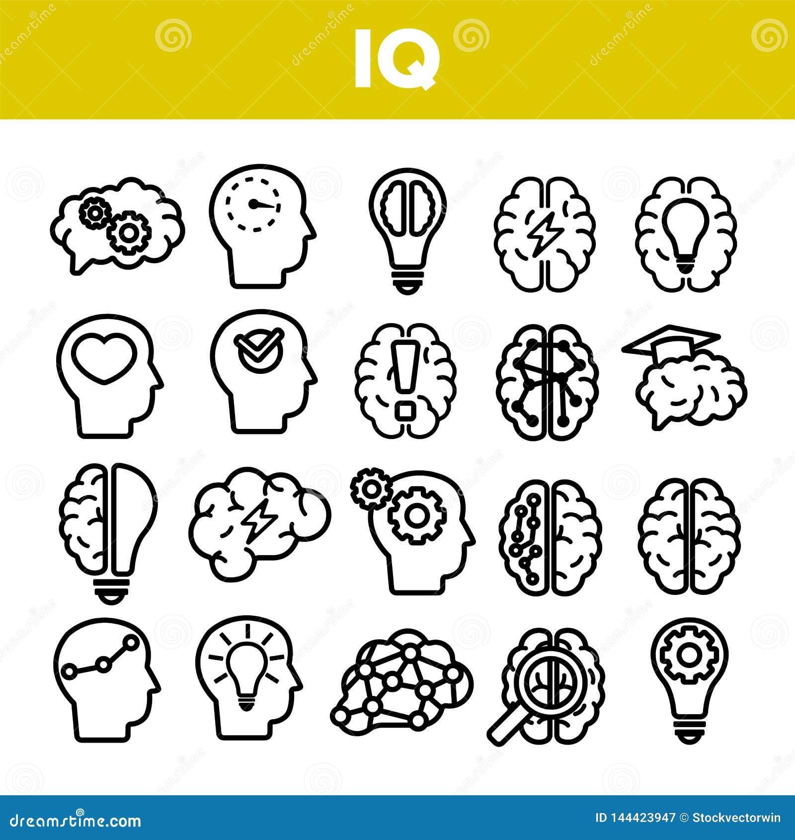 IQ, intelekt Liniowe Wektorowe ikony Ustawiać Cienieje piktogram