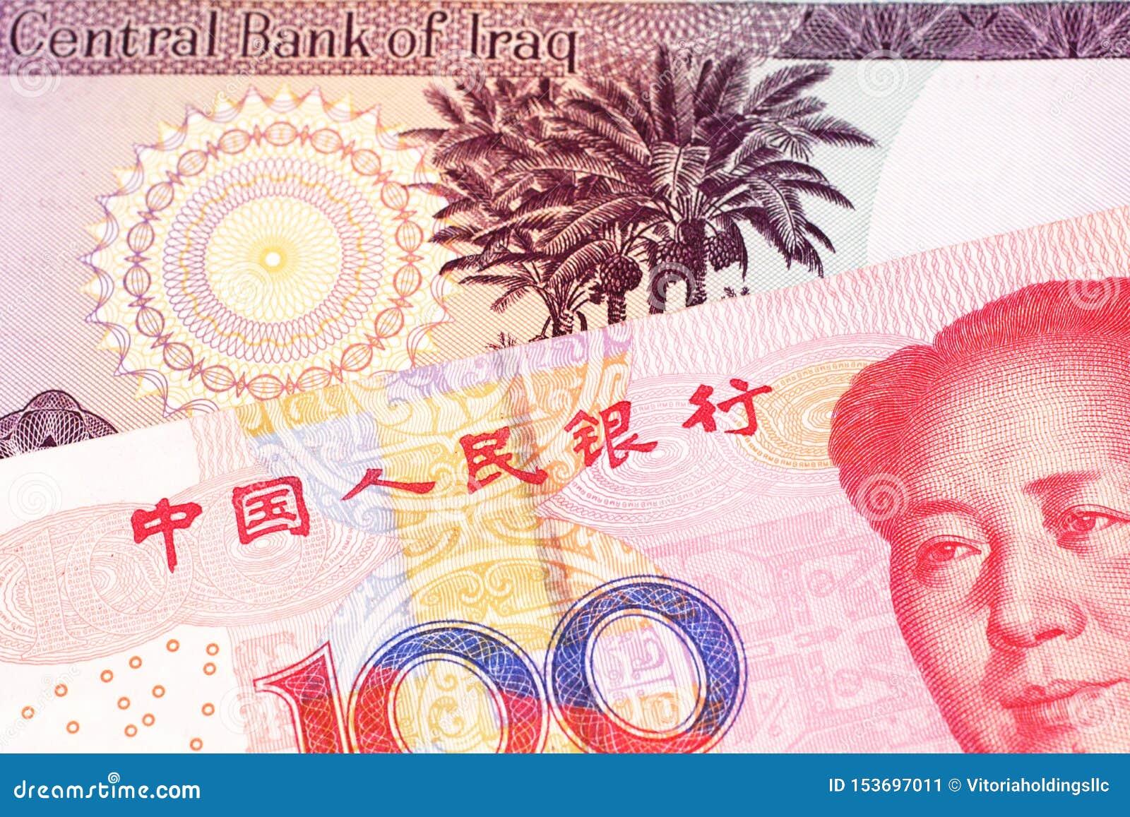 Irakisk valuta med hundra kinesiska yuananmärkning