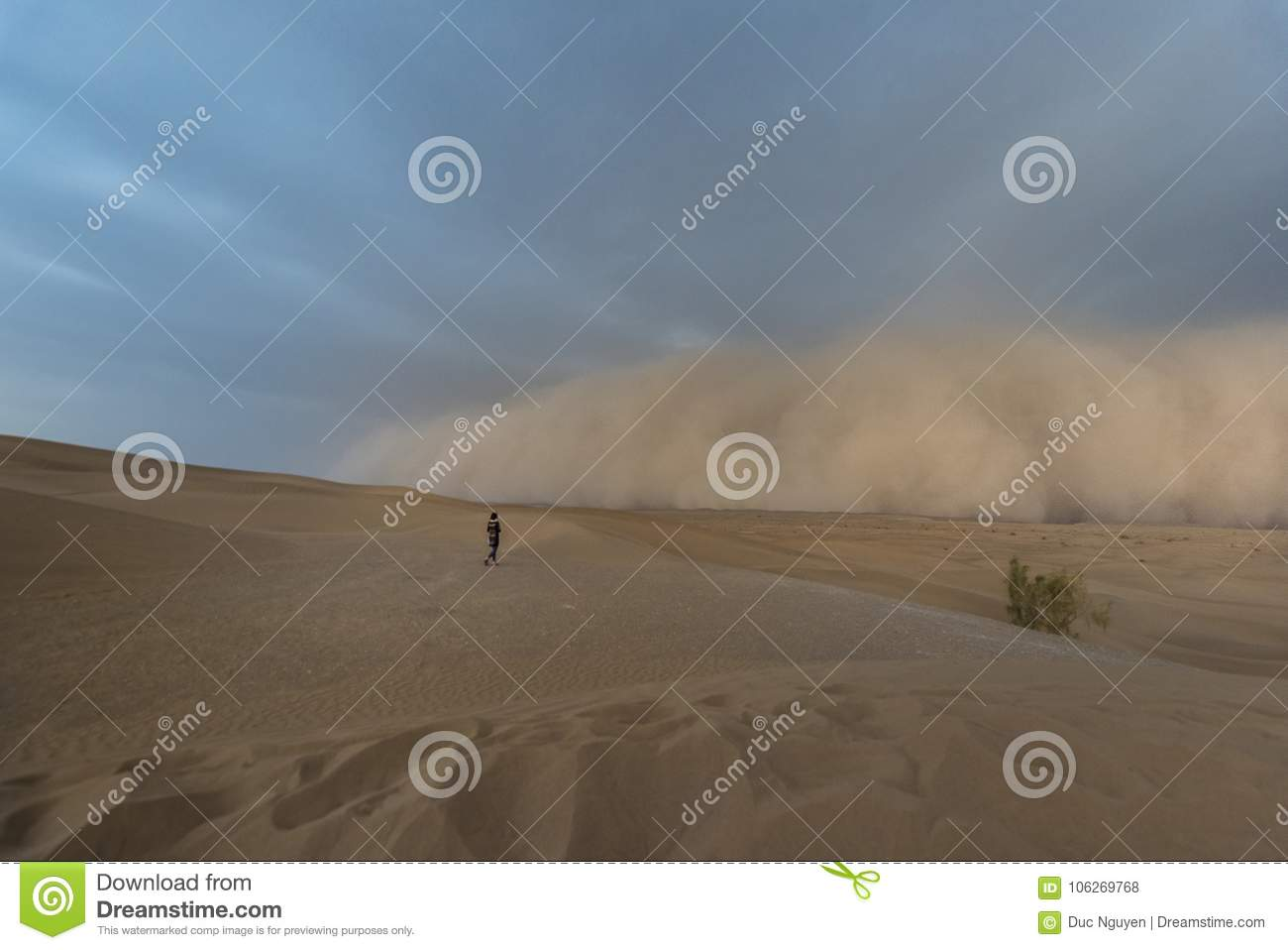 Great sand storm on Mesr desert in central Iran