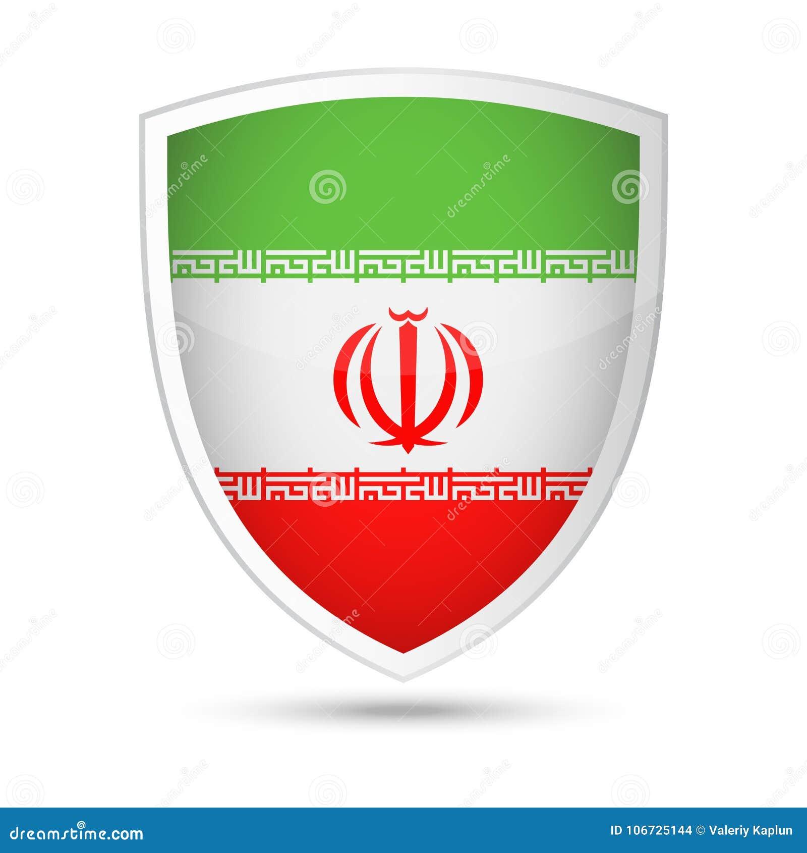 Iran Flag Vector Shield Icon Stock Illustration Illustration Of