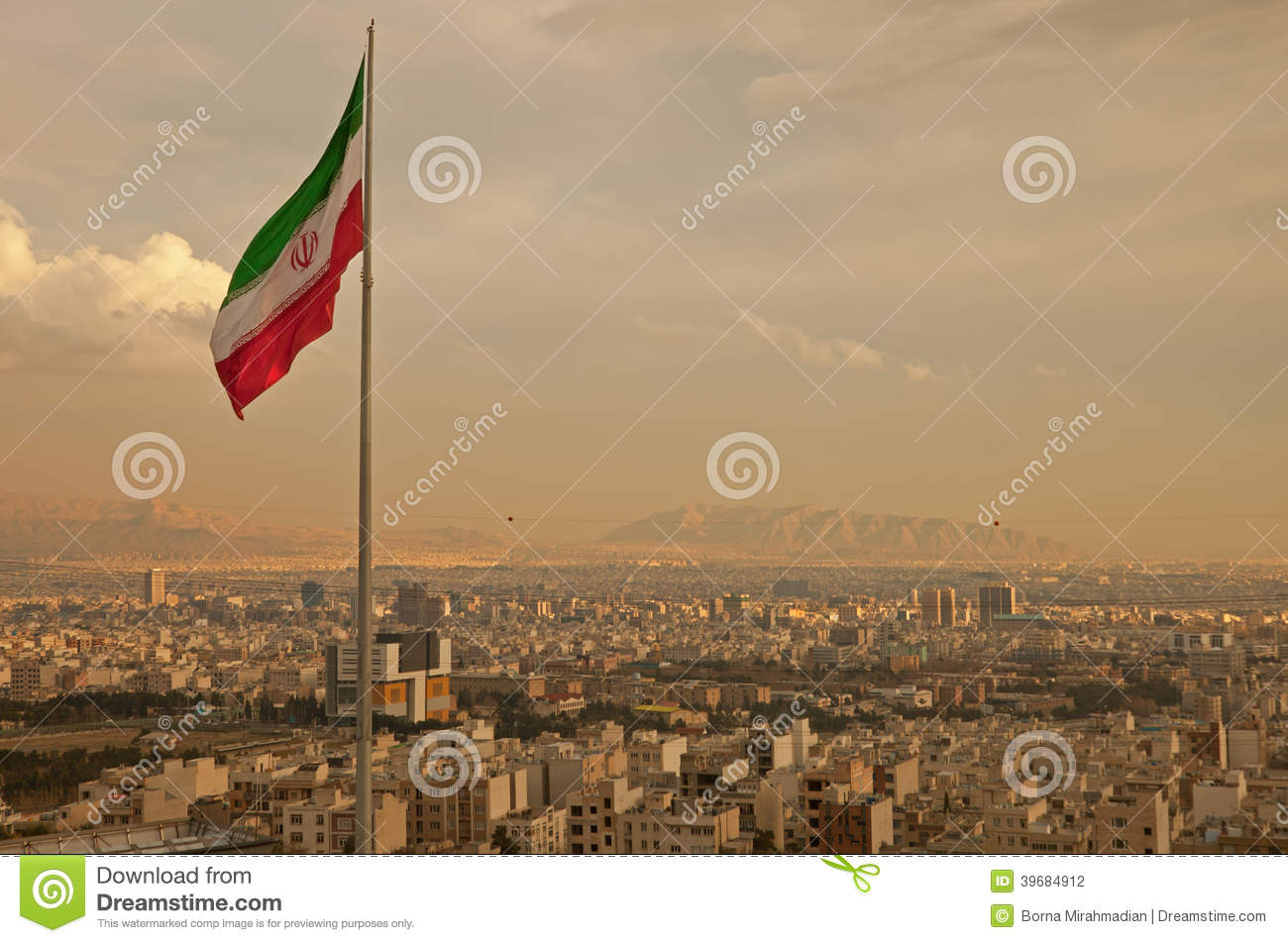 Download Iran Flag In The Wind Above Skyline Of Tehran Stock Photo - Image of iran, buildings: 39684912