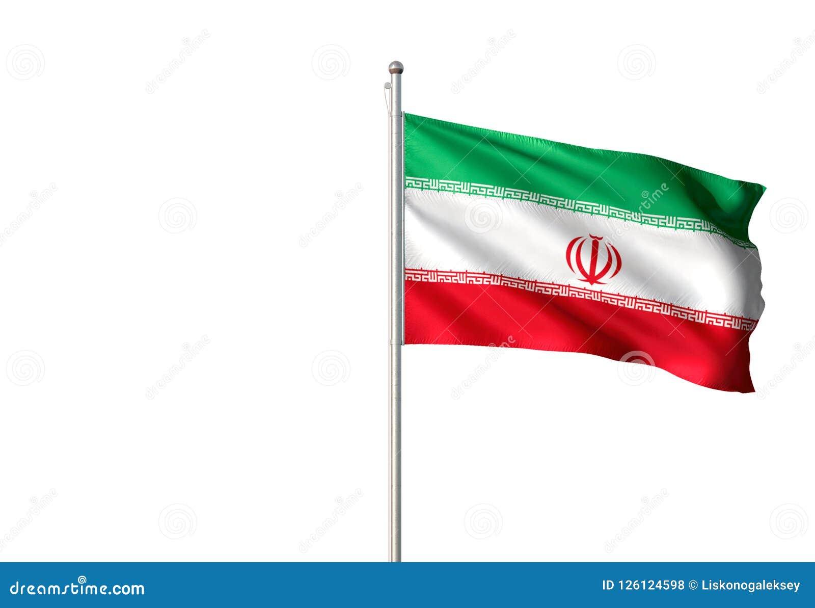 Iran flaga państowowa falowanie odizolowywał białego tła realistyczną 3d ilustrację