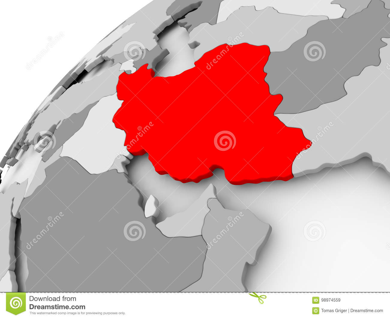 Iran On Grey Political Globe Stock Illustration Illustration Of