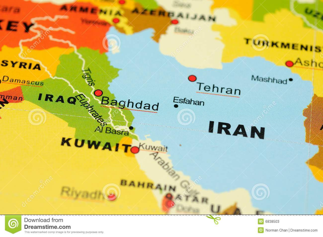 Iran And Iraq On Map Stock Photos - Image: 6838503