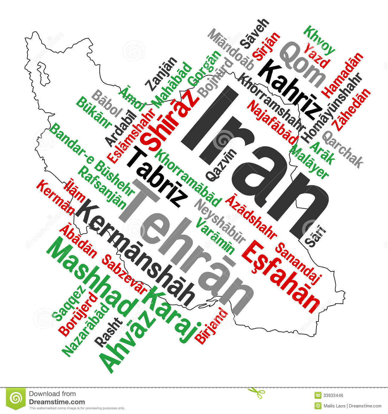 Download Iran map and cities stock vector. Illustration of politics - 33933446
