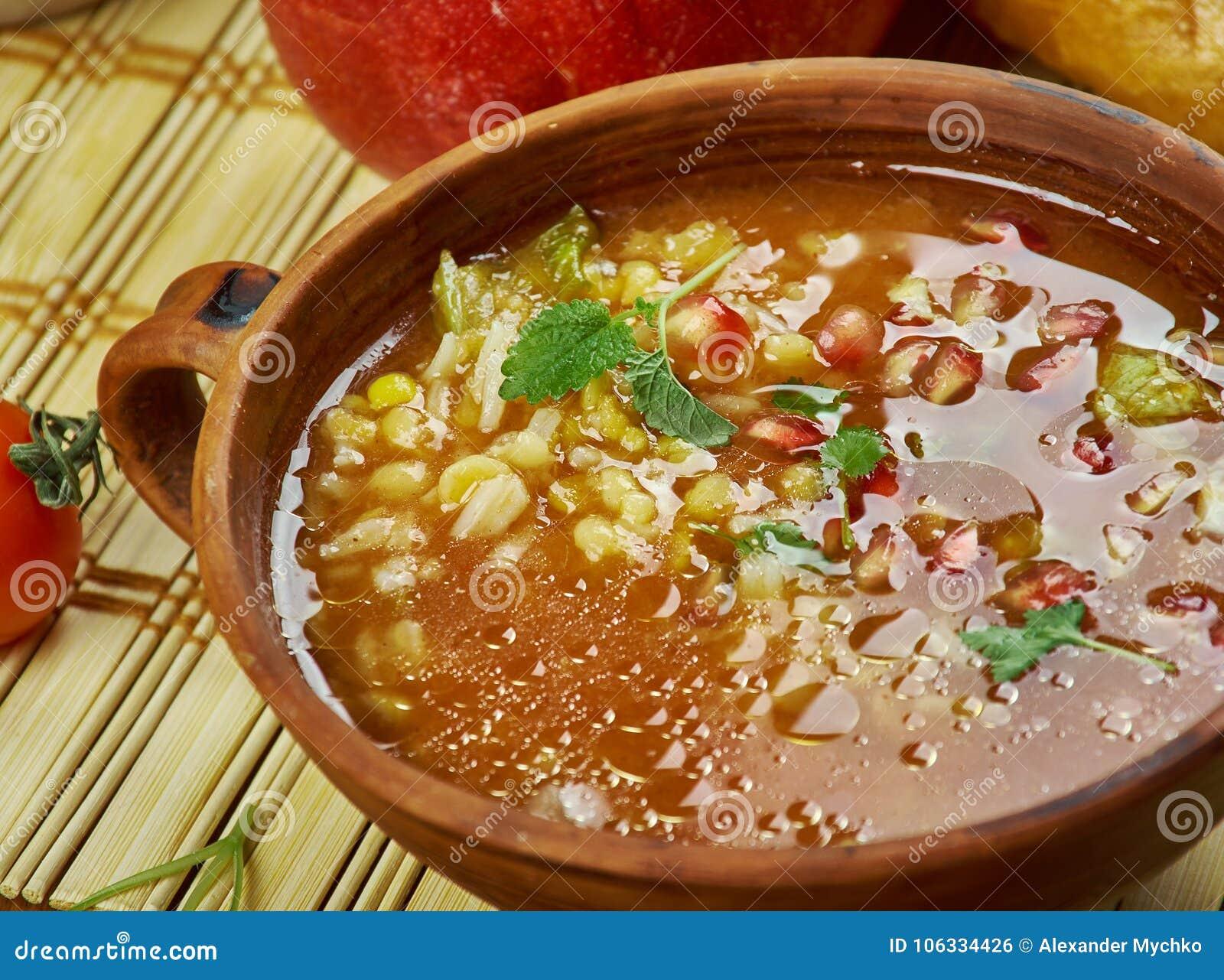 Iranian Pomegranate Soup stock photo. Image of qovurma ... Persian Pomegranate Soup