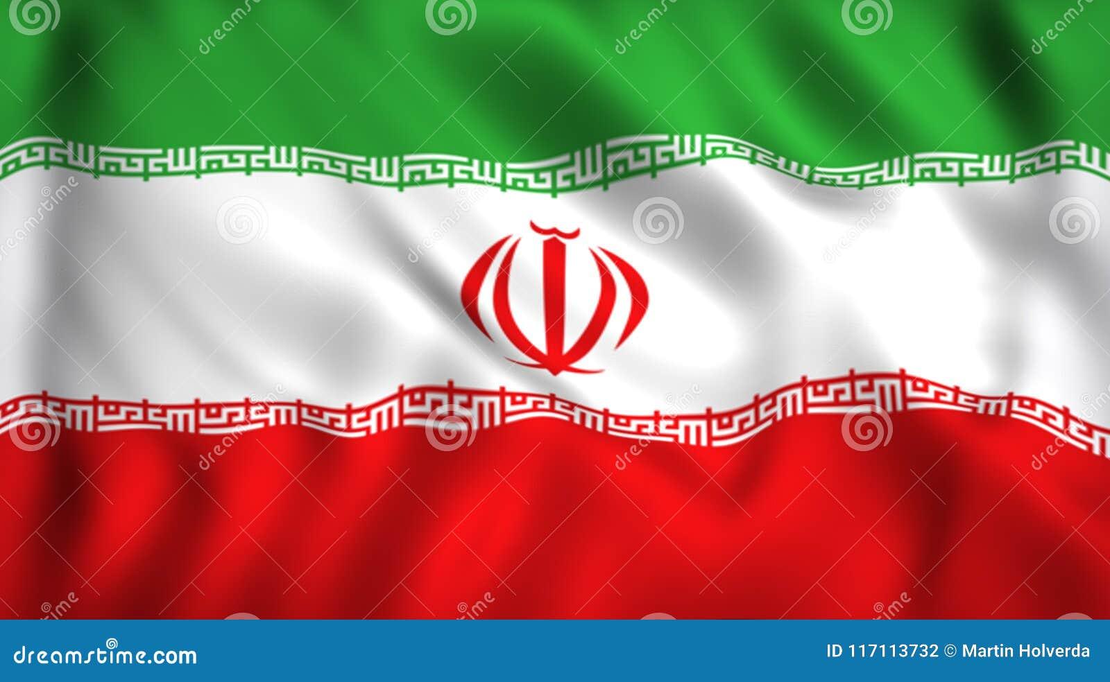 Iranian Flag Waving In The Wind Stock Illustration Illustration Of