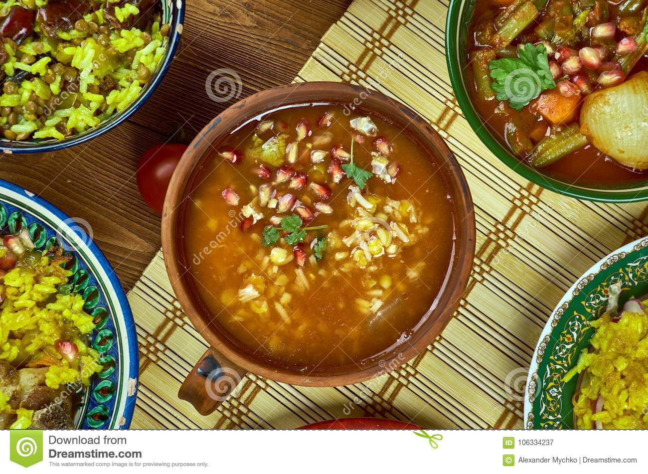 Iranian Pomegranate Soup stock image. Image of grilled ... Persian Pomegranate Soup