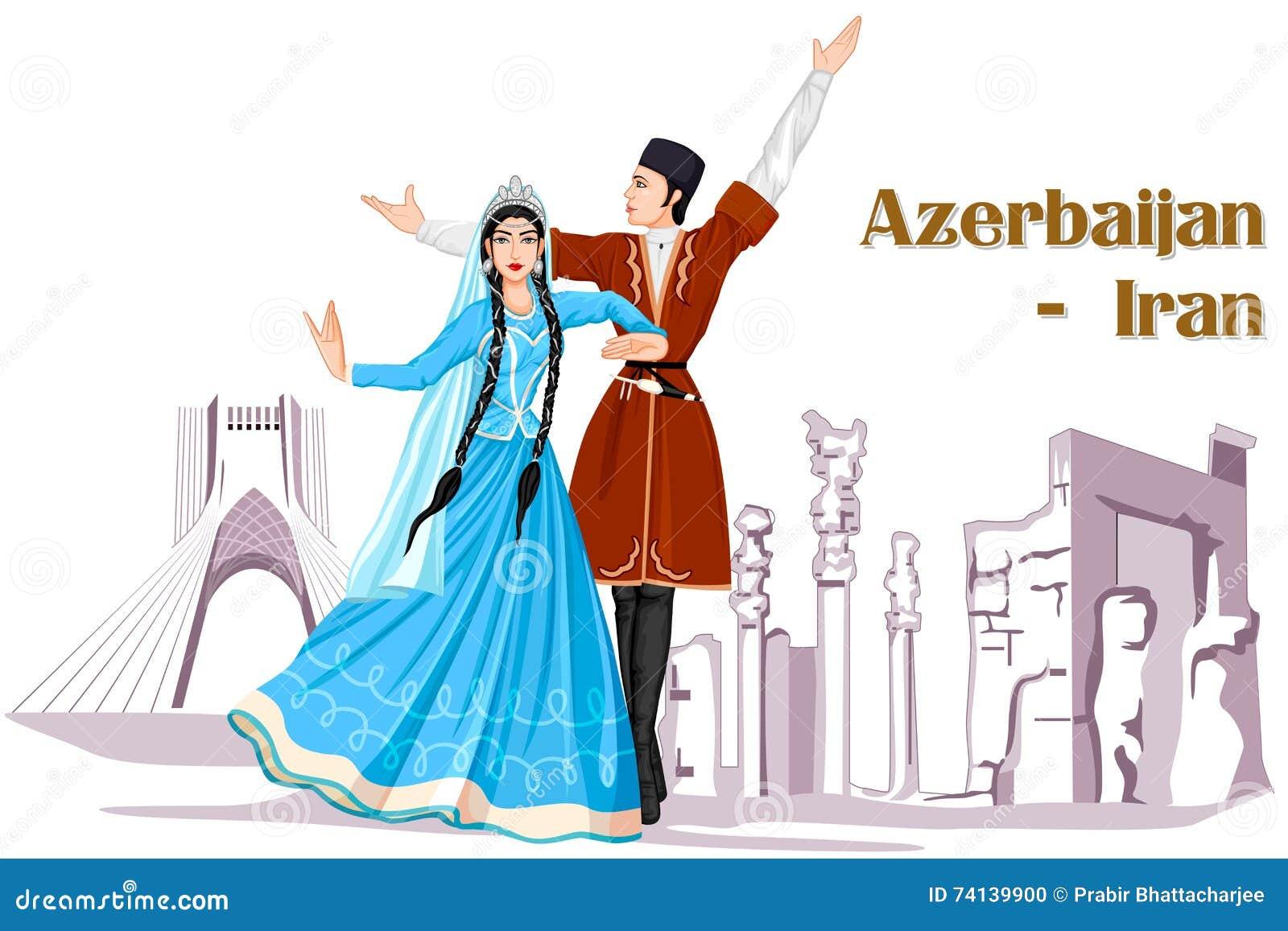 Iranische Paare Die Aserbaidschan Tanz Vom Iran Durchfuhren Vektor Abbildung Illustration Von Iran Aserbaidschan 74139900